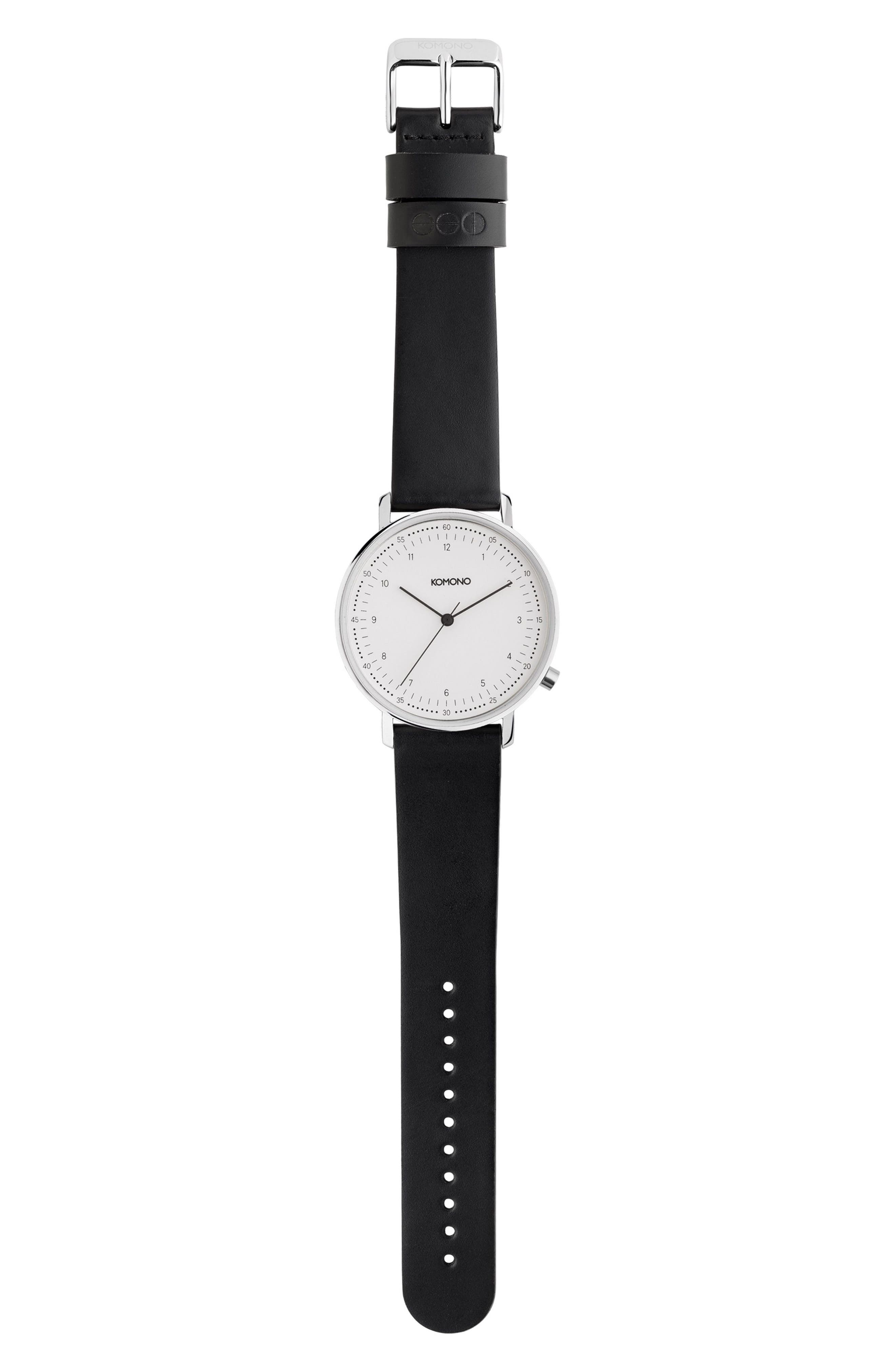 Lewis Leather Strap Watch, 40mm,                             Main thumbnail 1, color,                             White/ Black