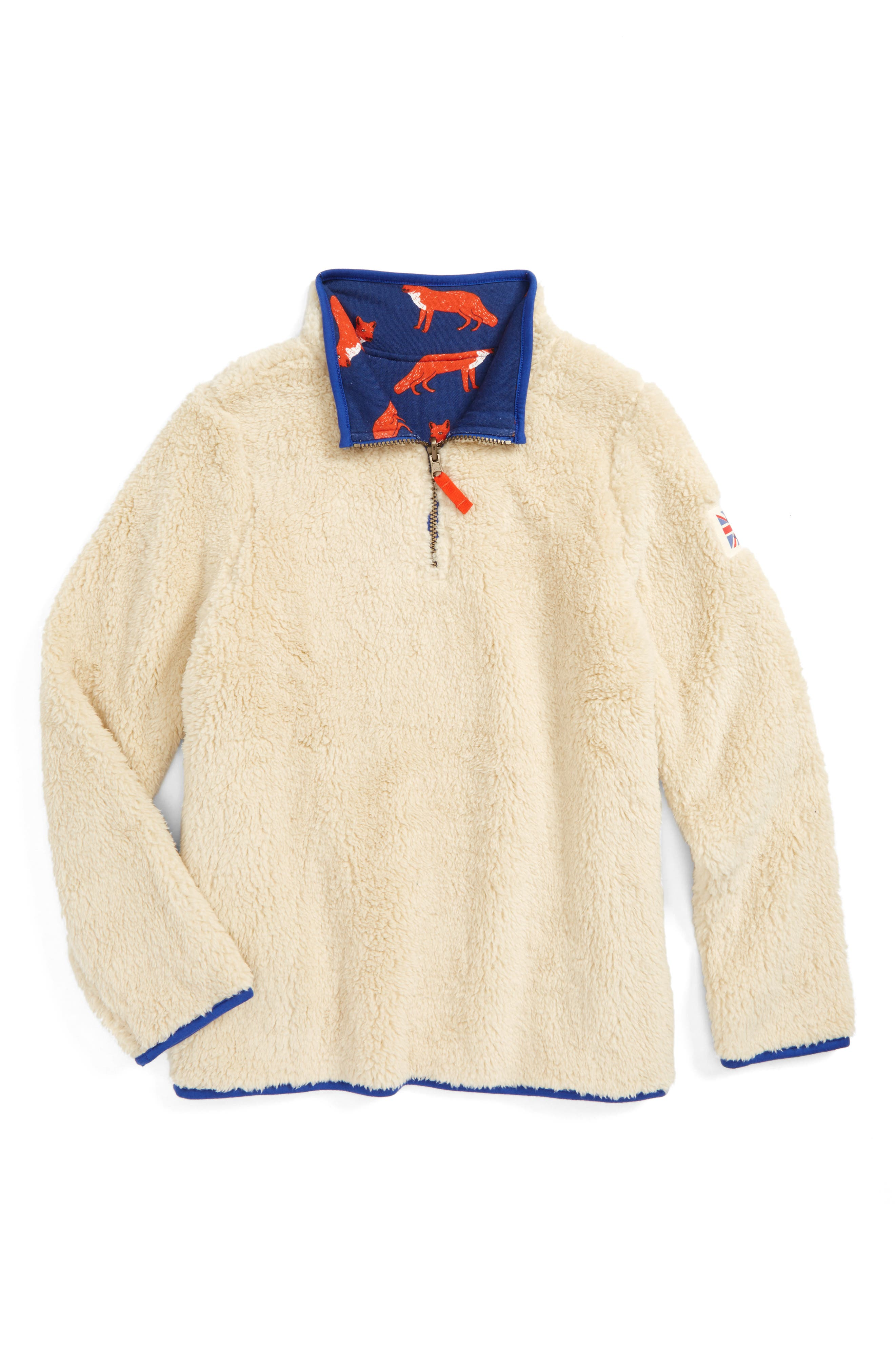 Mini Boden Reversible Quarter Zip Sweatshirt (Toddler Boys, Little Boys & Big Boys)