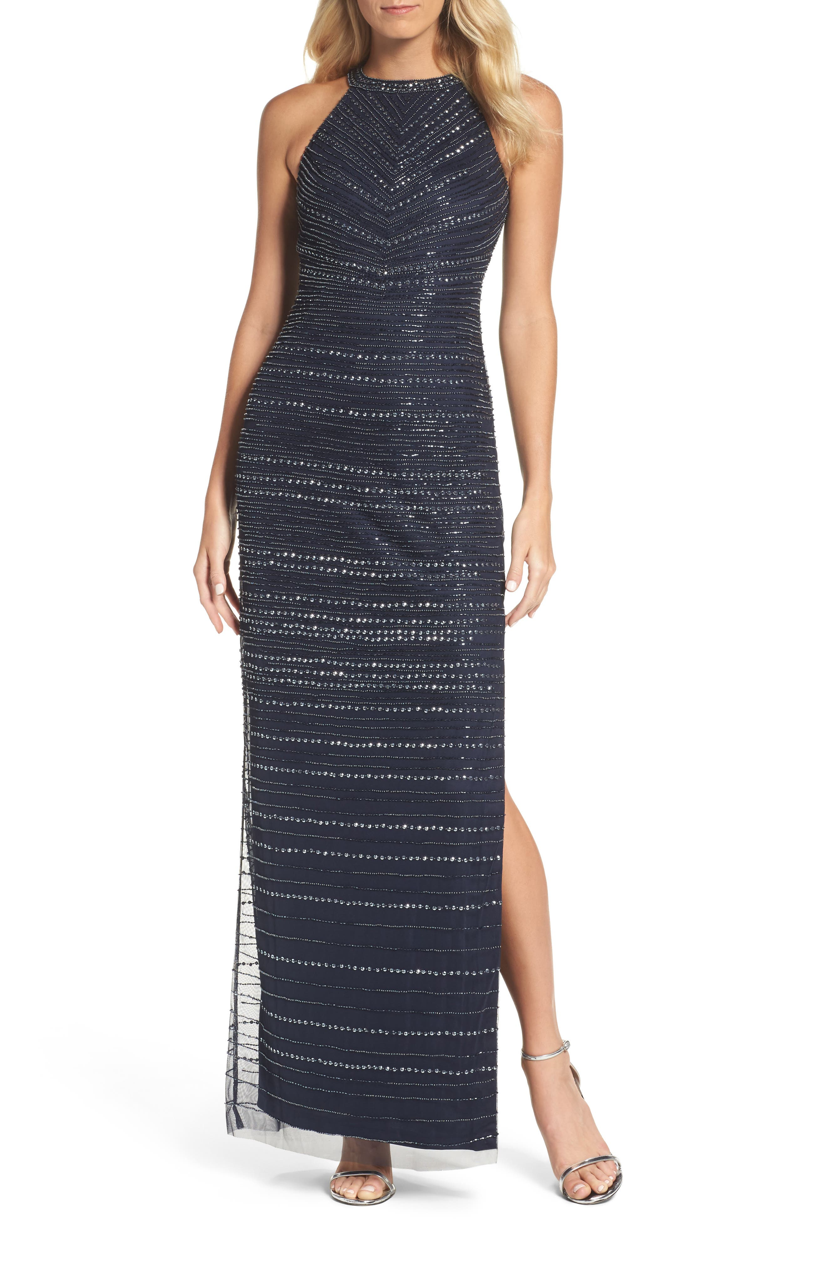 Beaded Halter Gown,                         Main,                         color, Midnight