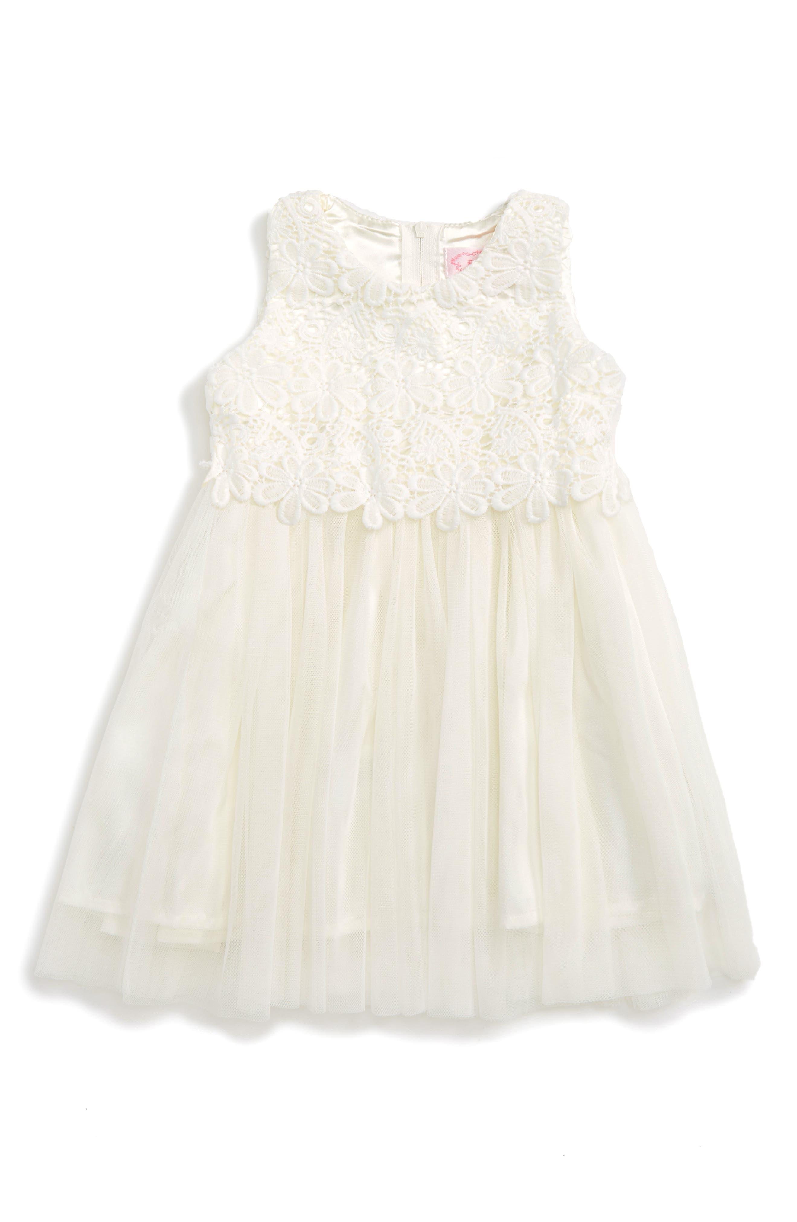 Lace & Tulle Dress,                             Main thumbnail 1, color,                             White