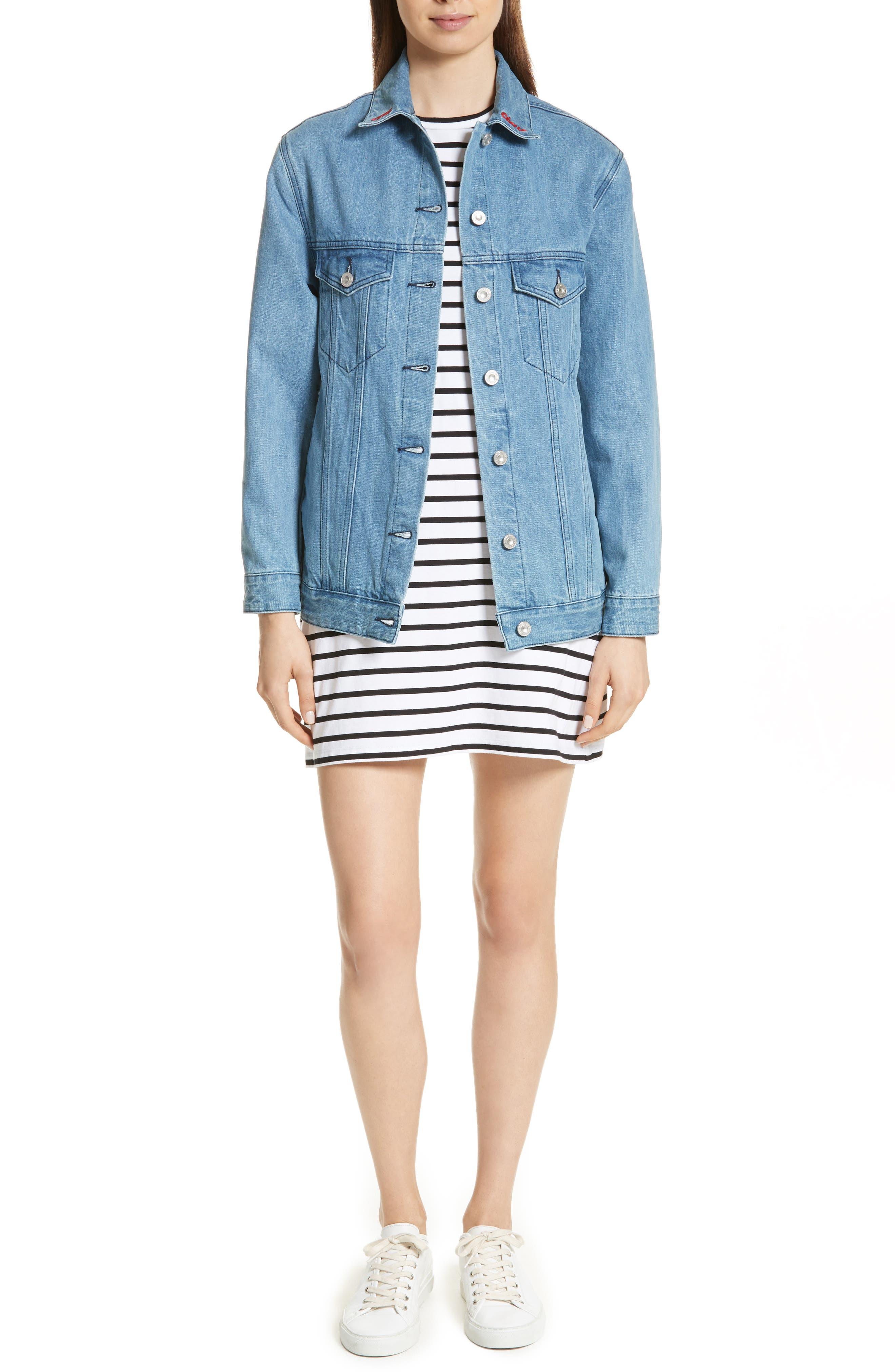 être cécile Scribble Dog Stripe T-Shirt Dress,                             Alternate thumbnail 2, color,                             Black Breton Stripe