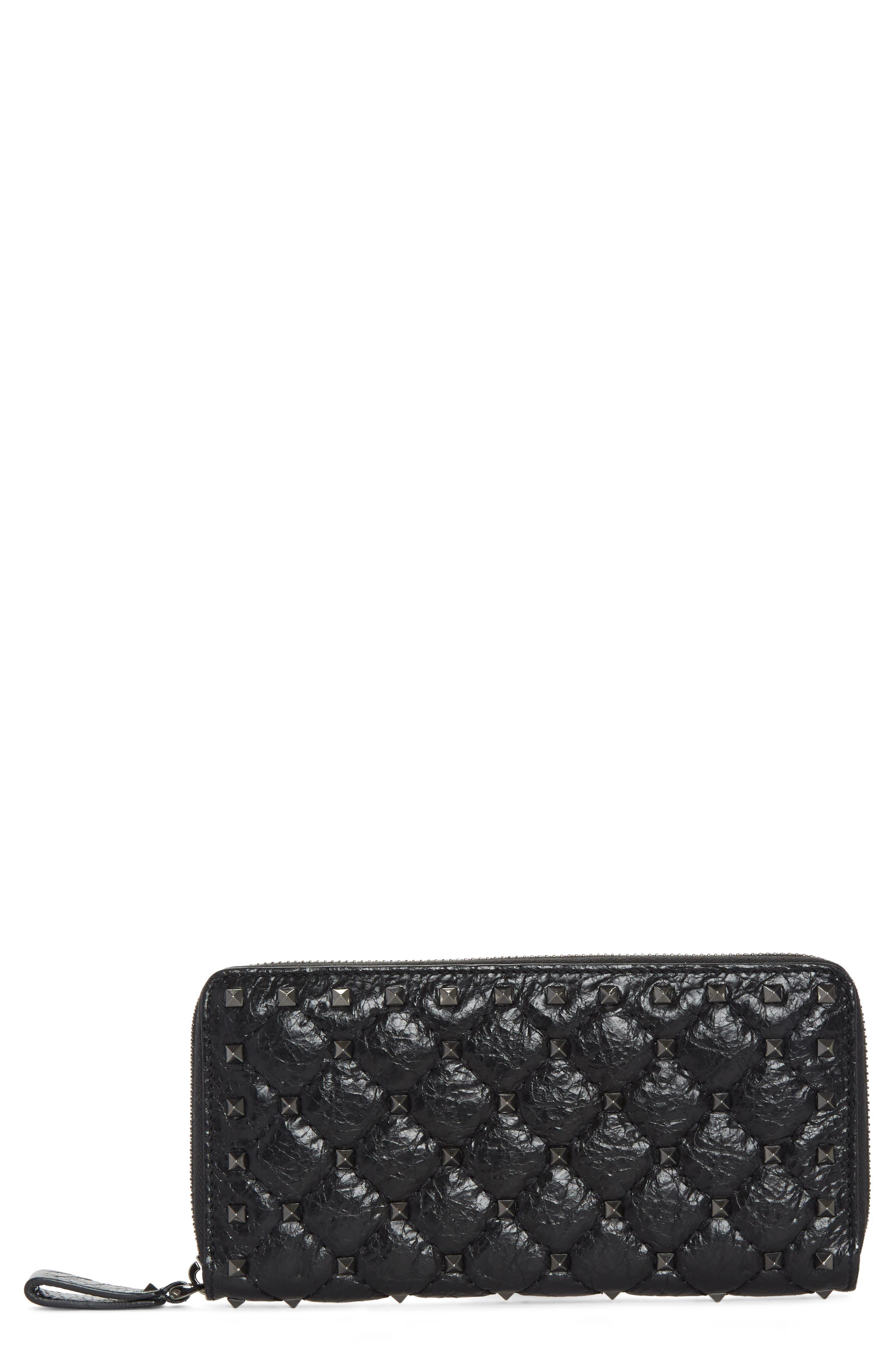 Rockstud Spike Matelassé Leather Continental Wallet,                         Main,                         color, Black