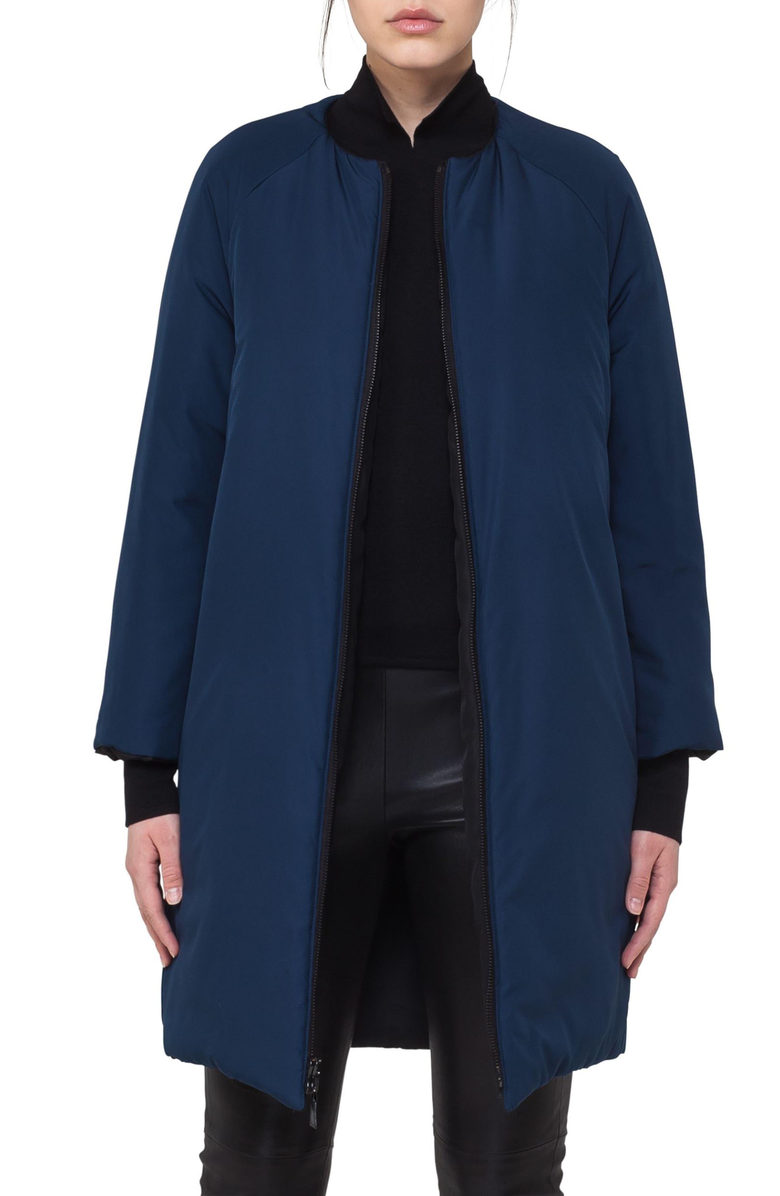 Reversible Techno Puffer Coat,                             Alternate thumbnail 2, color,                             Black-Denim