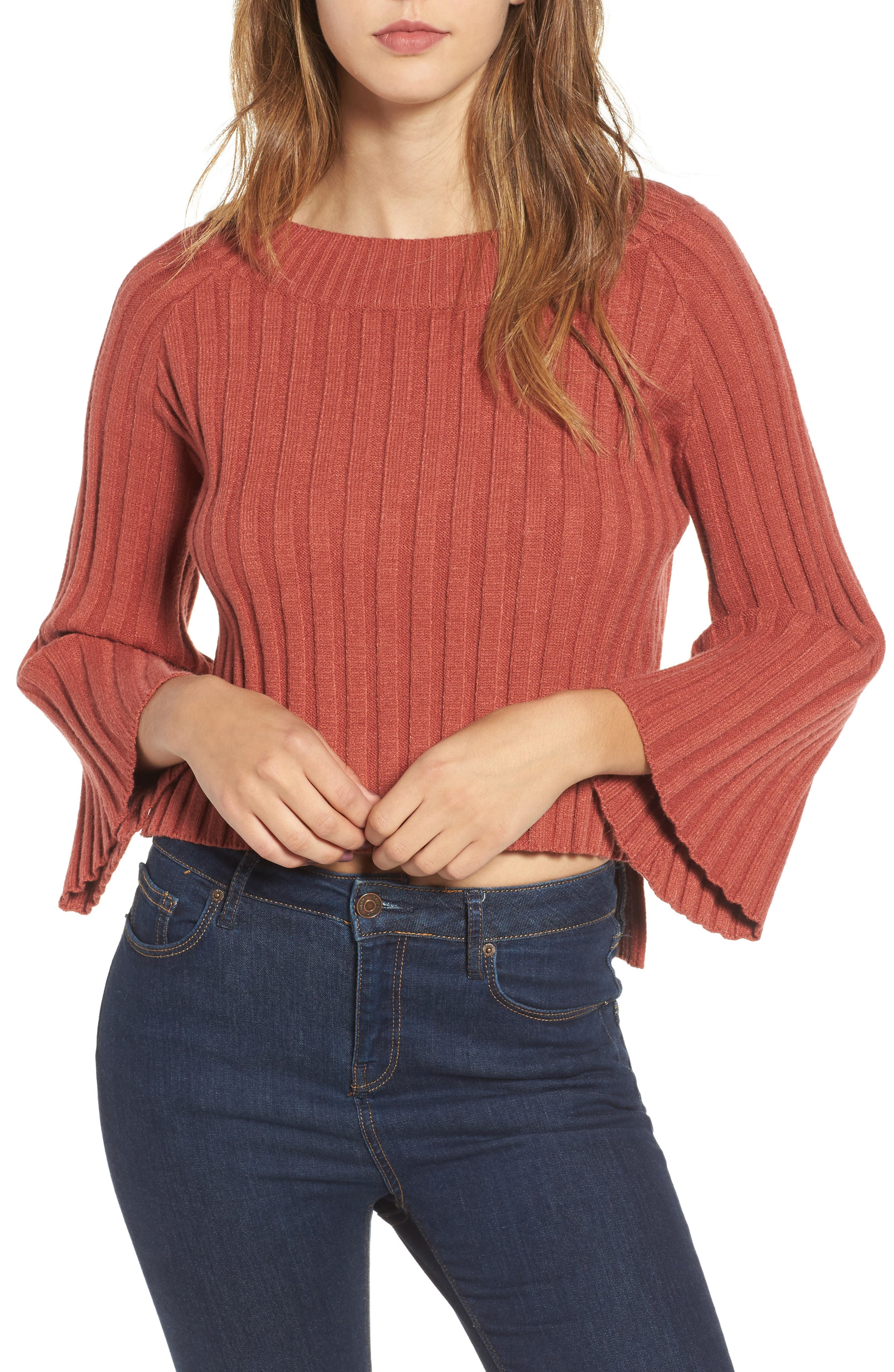 Alternate Image 1 Selected - J.O.A. Crop Ribbed Sweater
