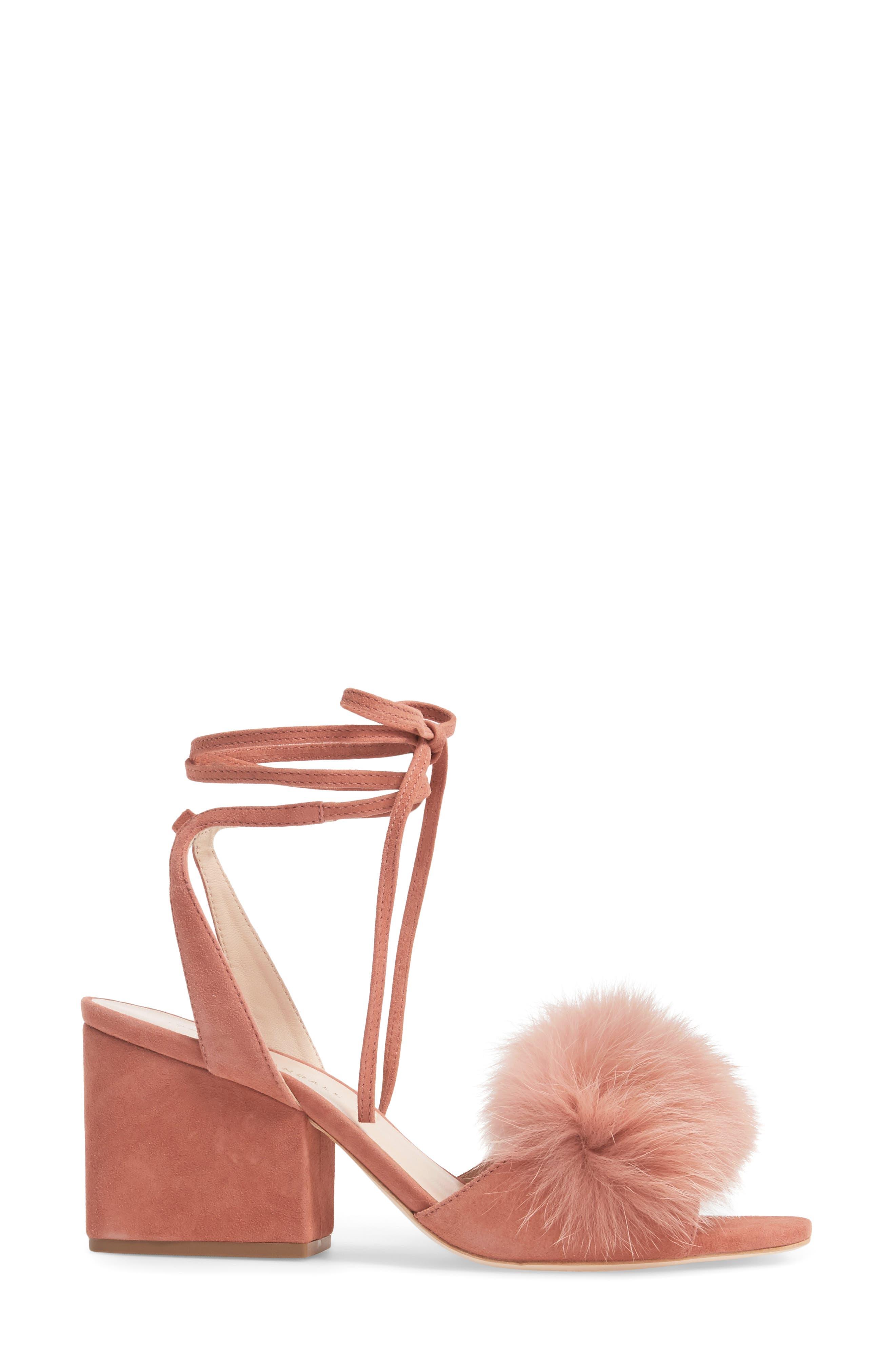 Alternate Image 3  - Loeffler Randall Nicky Genuine Fox Fur Ankle Wrap Sandal (Women)