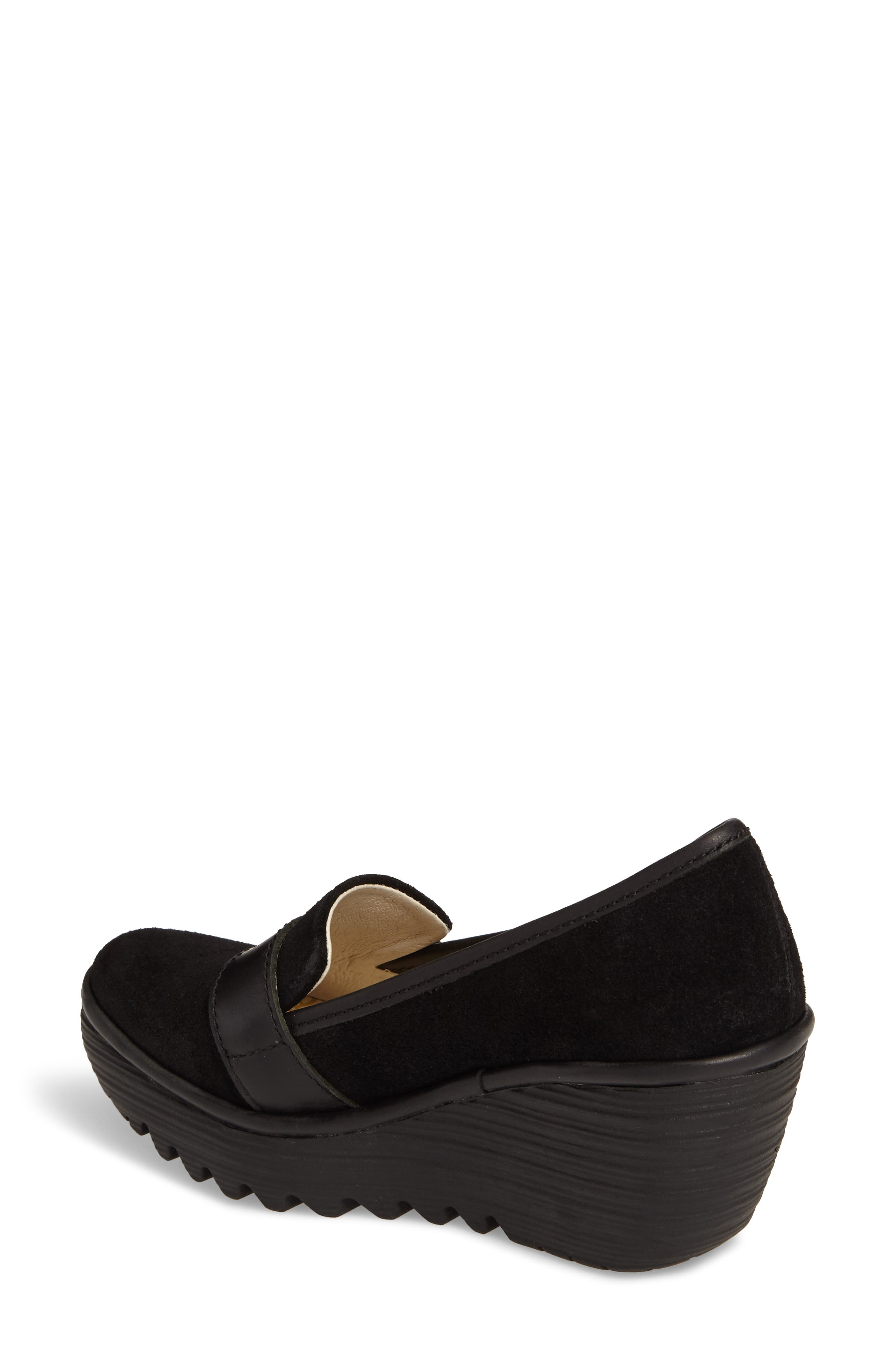 Yond Wedge,                             Alternate thumbnail 2, color,                             Black Suede