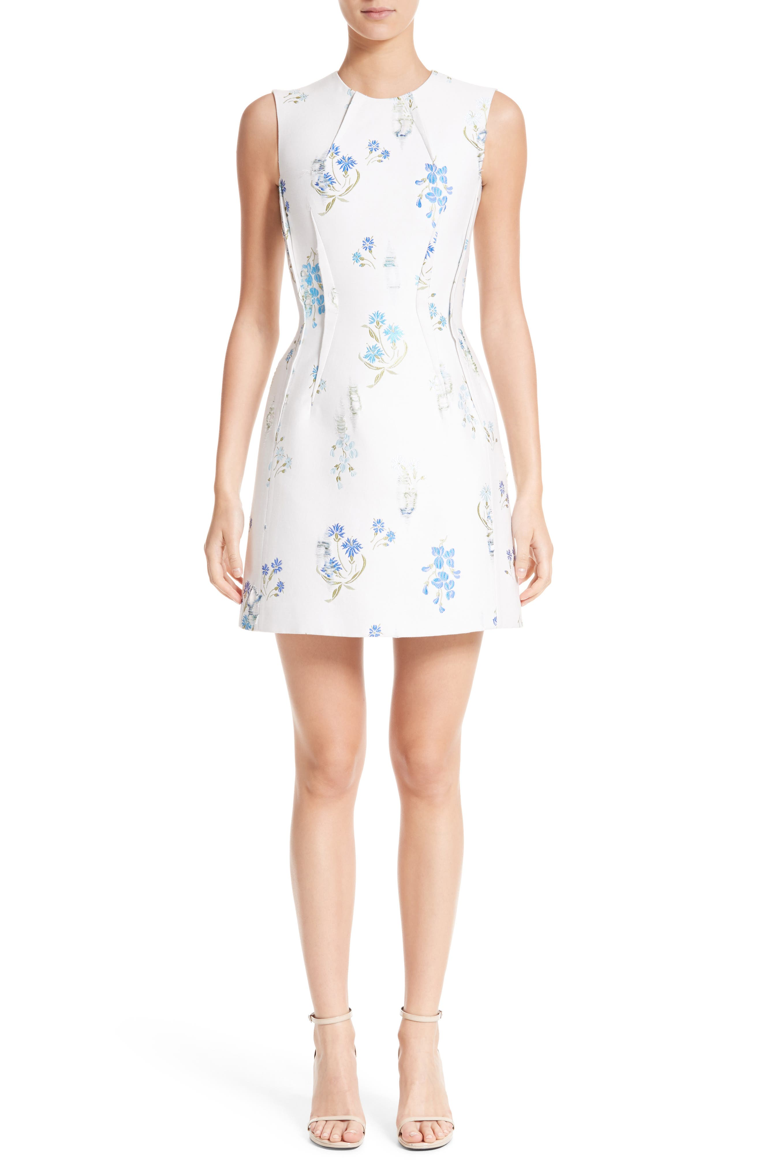Distressed Floral Jacquard Fit & Flare Dress,                         Main,                         color, White/ Blue