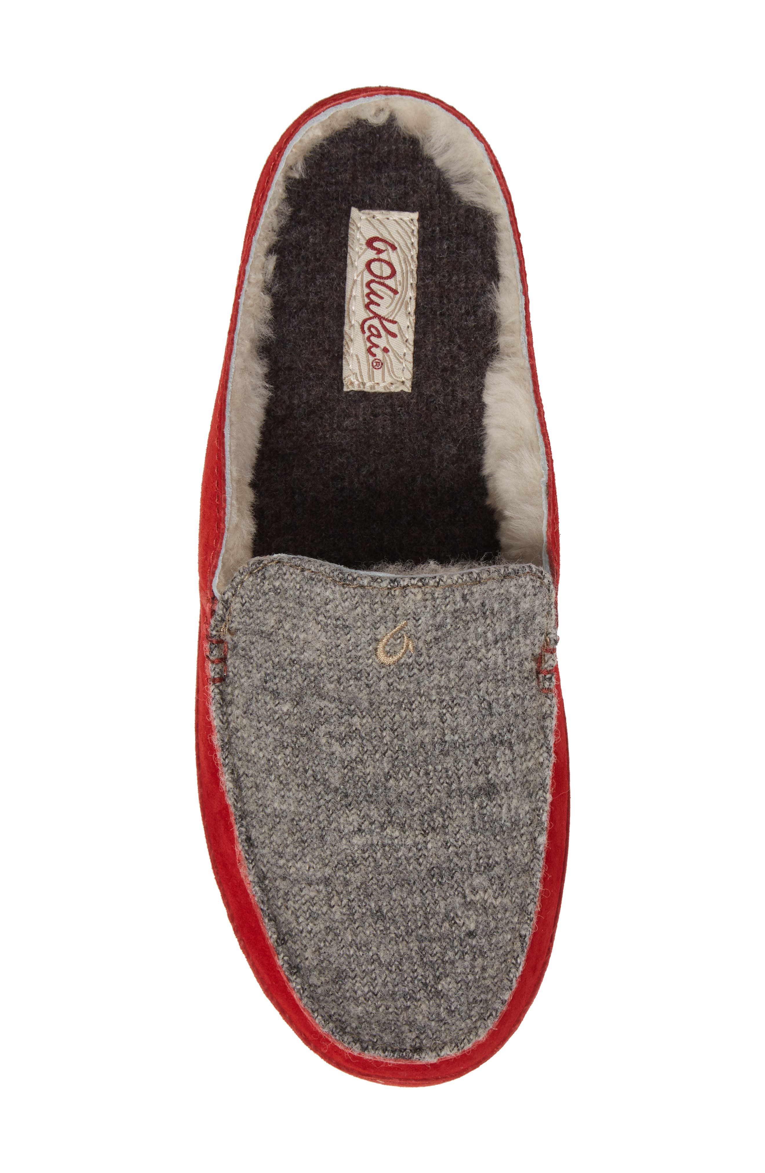 Alaula Genuine Shearling Lined Slipper,                             Alternate thumbnail 5, color,                             Cooler Grey/ Red Mud Leather