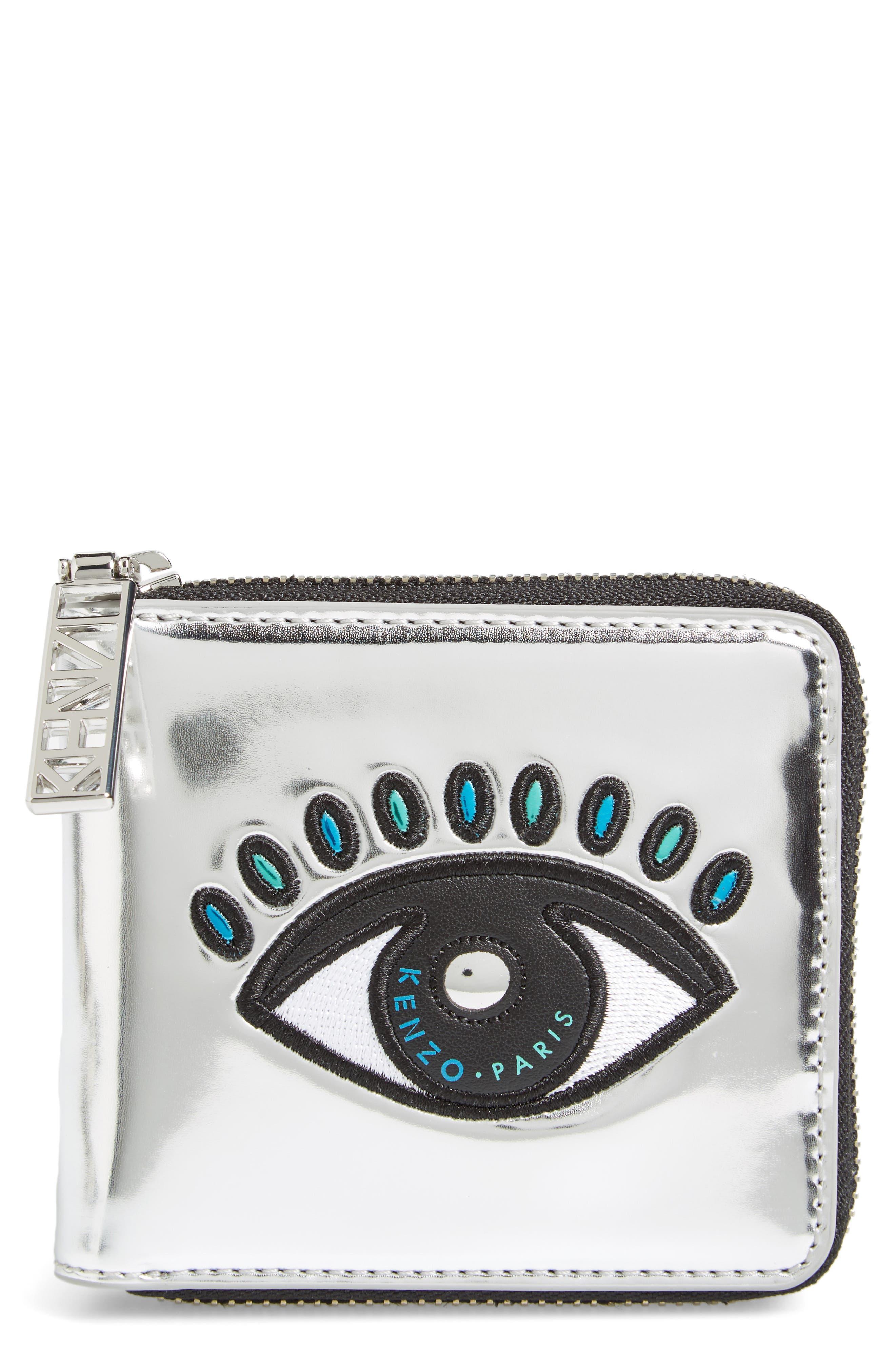 KENZO Icons Eye Squared Metallic Leather Wallet