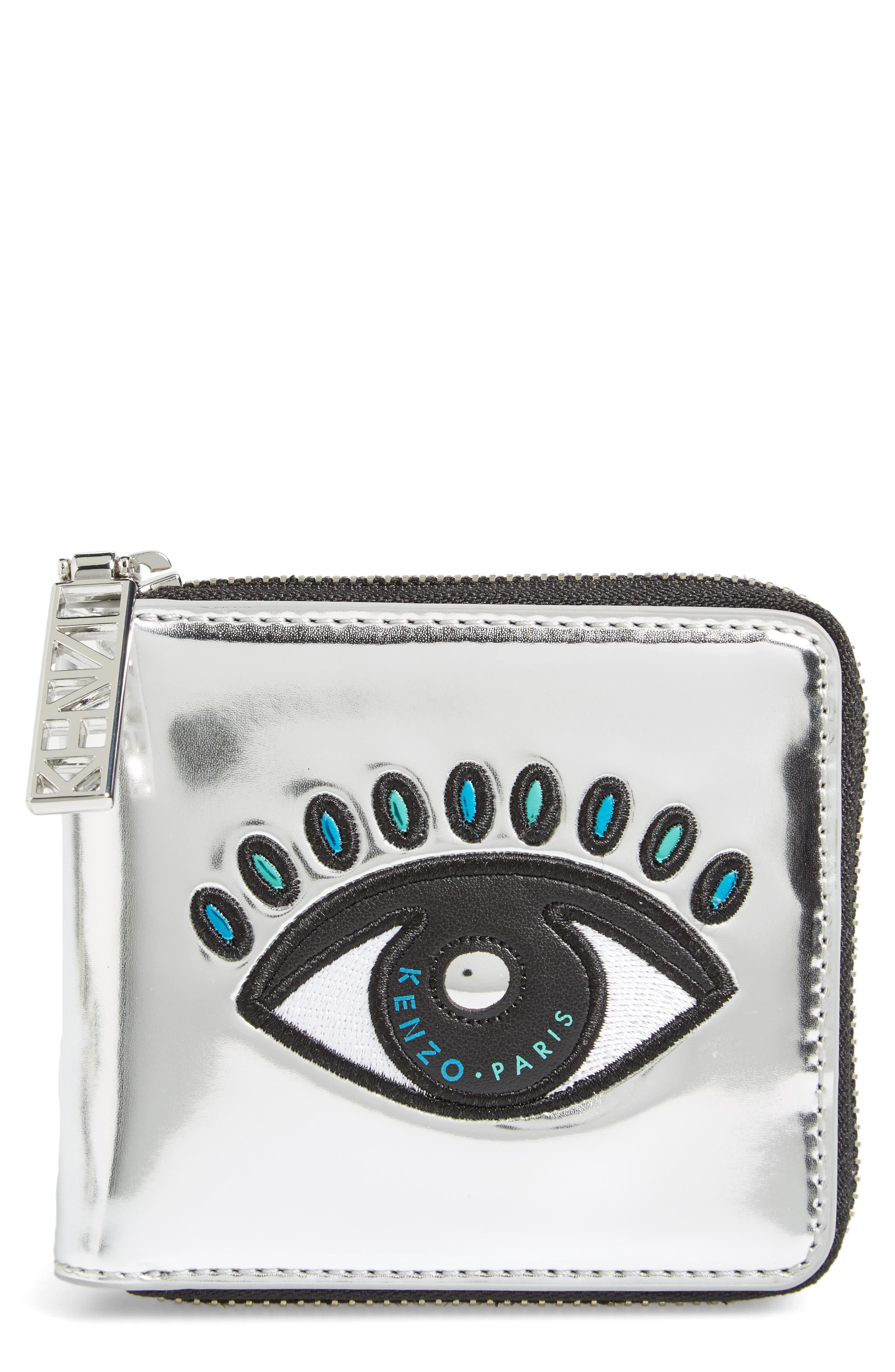 KENZO Icons Eye Squared Metallic Leather Wallet