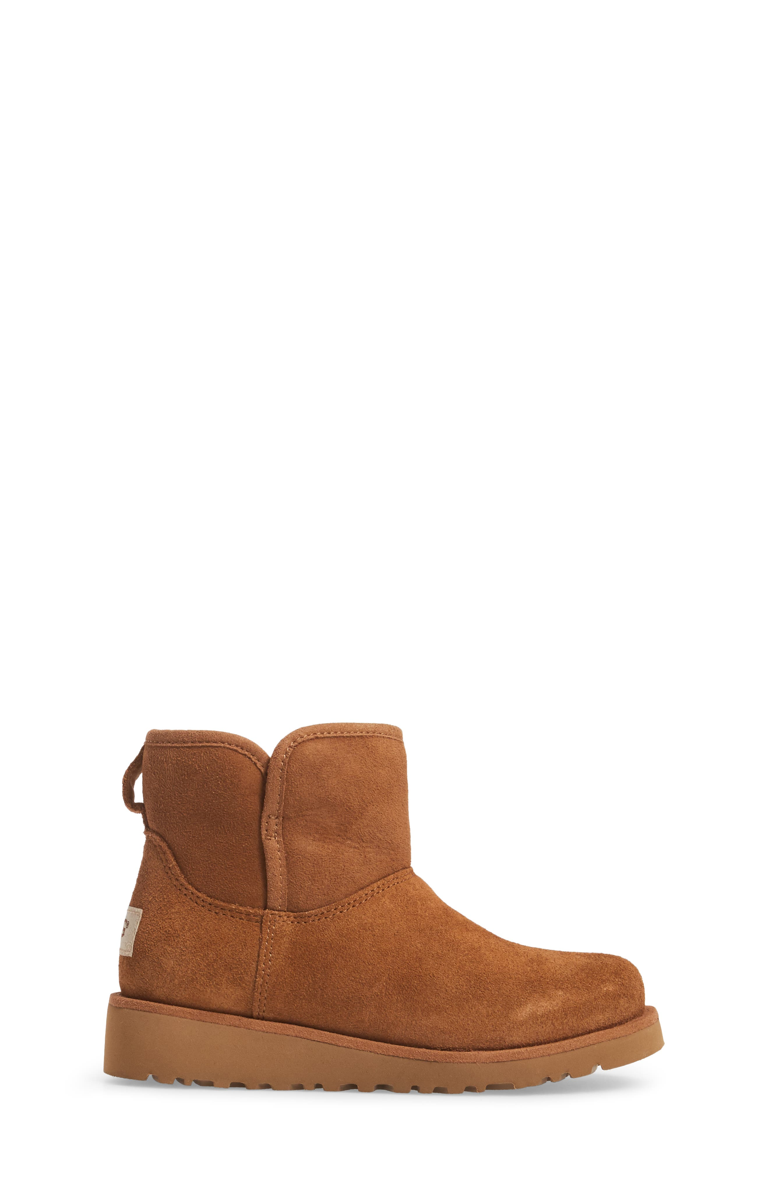 Katalina II Water-Resistant Genuine Shearling Bootie,                             Alternate thumbnail 3, color,                             Chestnut