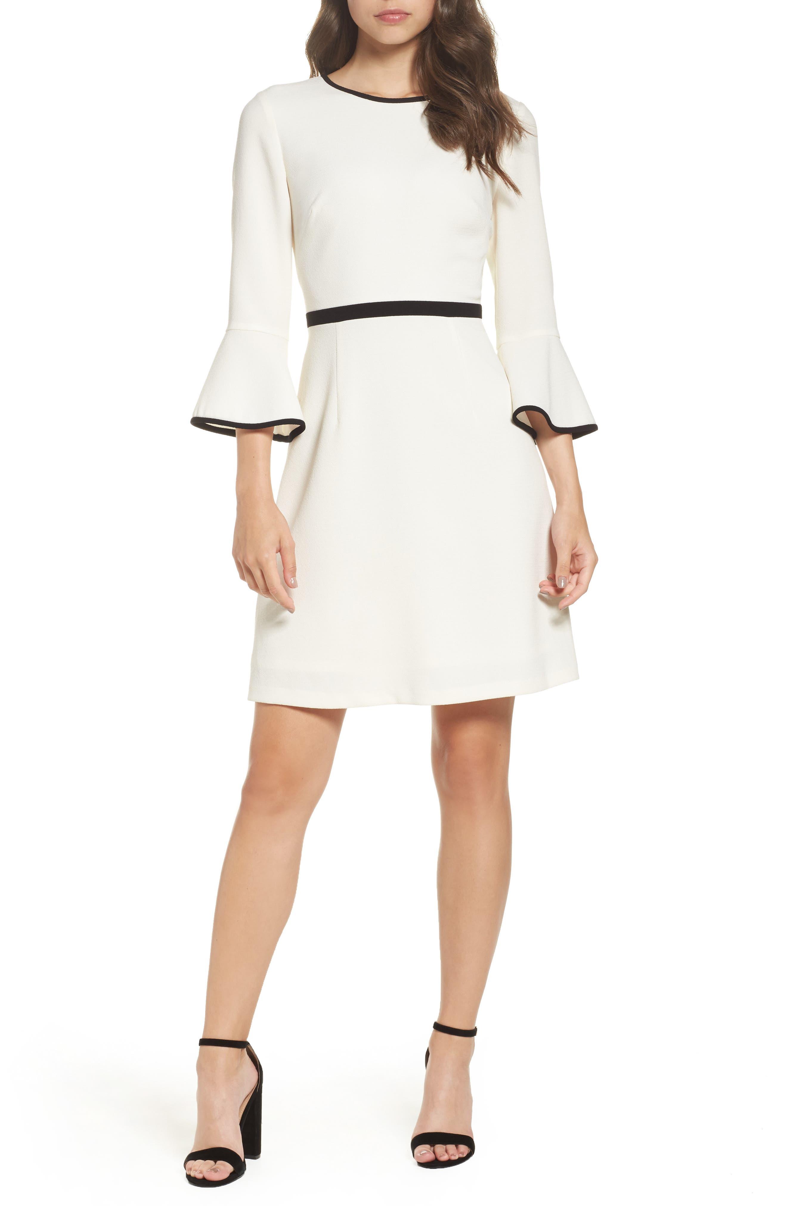 Fit & Flare Dress,                         Main,                         color, Ivory/ Black
