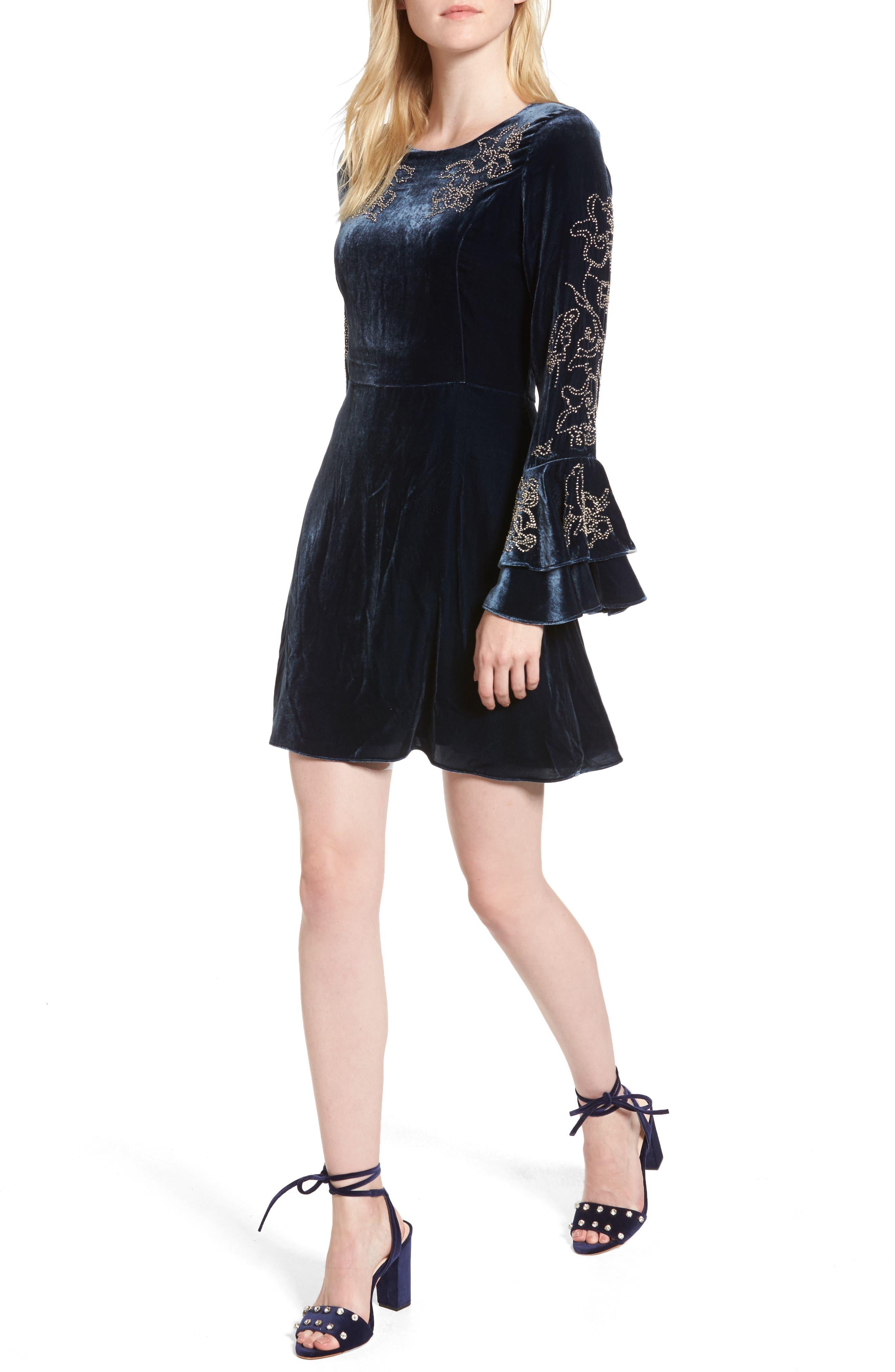 Parker Donatella Bell Sleeve Velvet Dress
