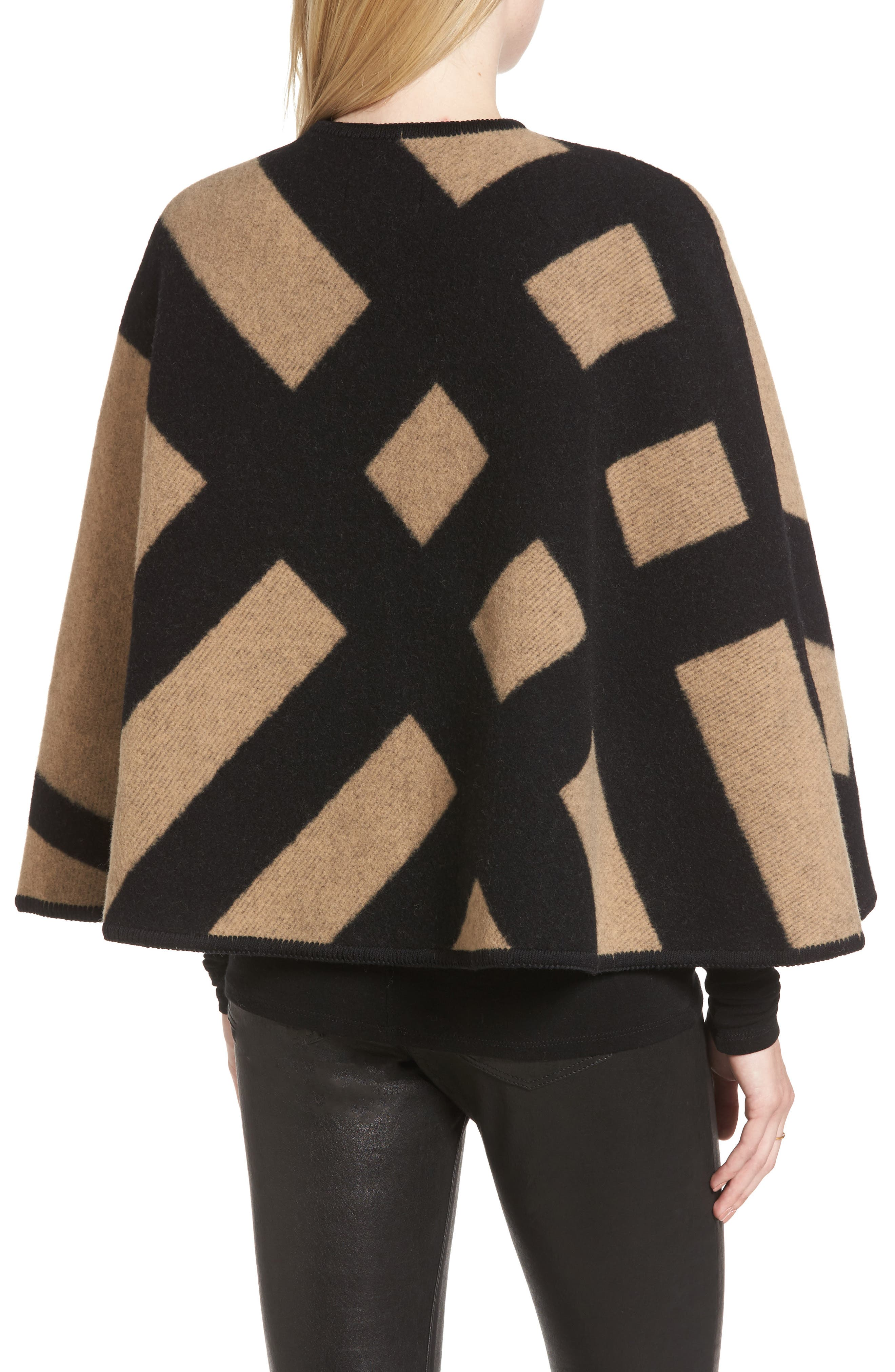 Blanket Check Wool & Cashmere Poncho,                             Alternate thumbnail 2, color,                             Camel/ Black