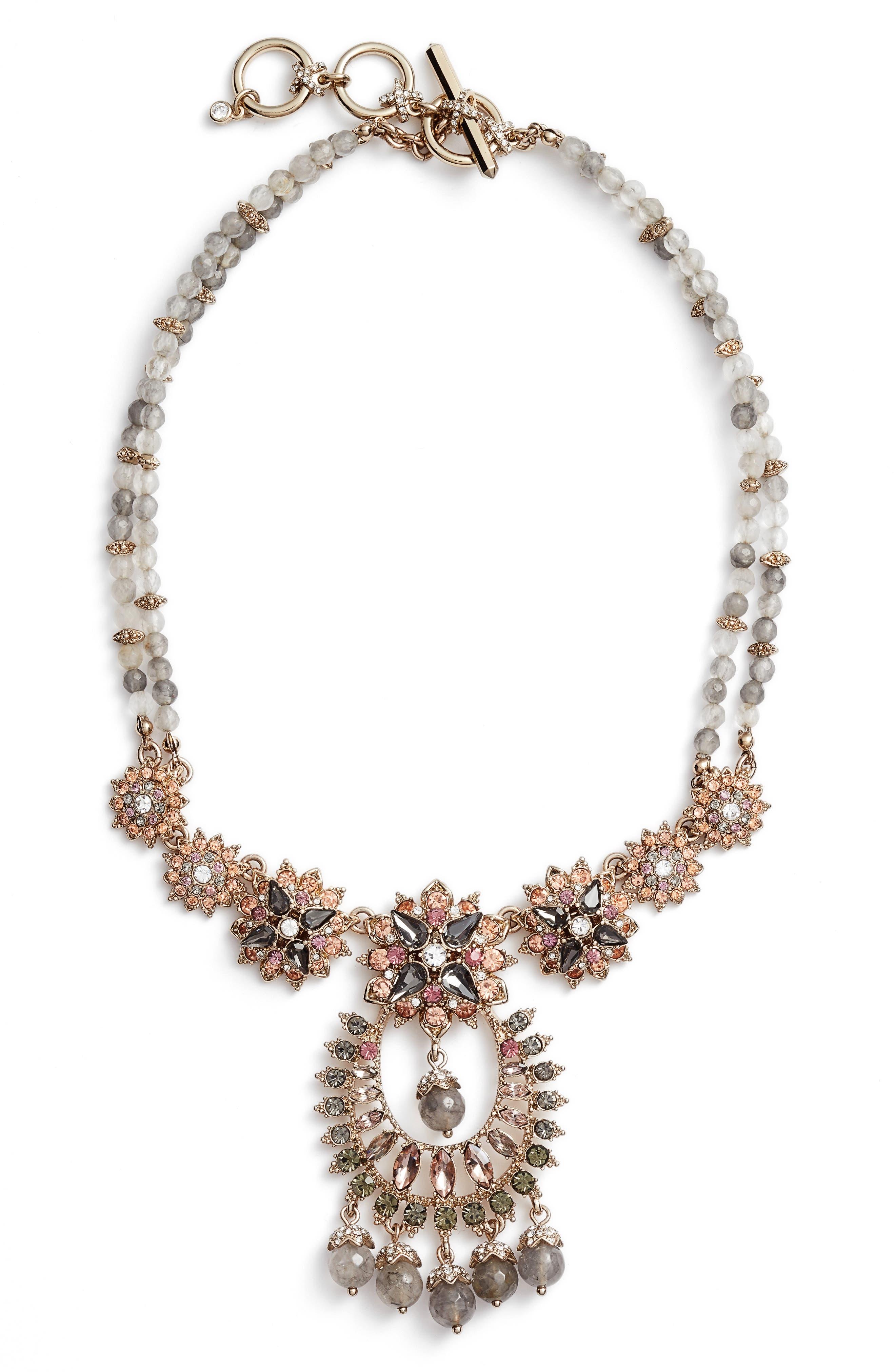 Drama Crystal Pendant Necklace,                         Main,                         color, Gold/ Grey Multi