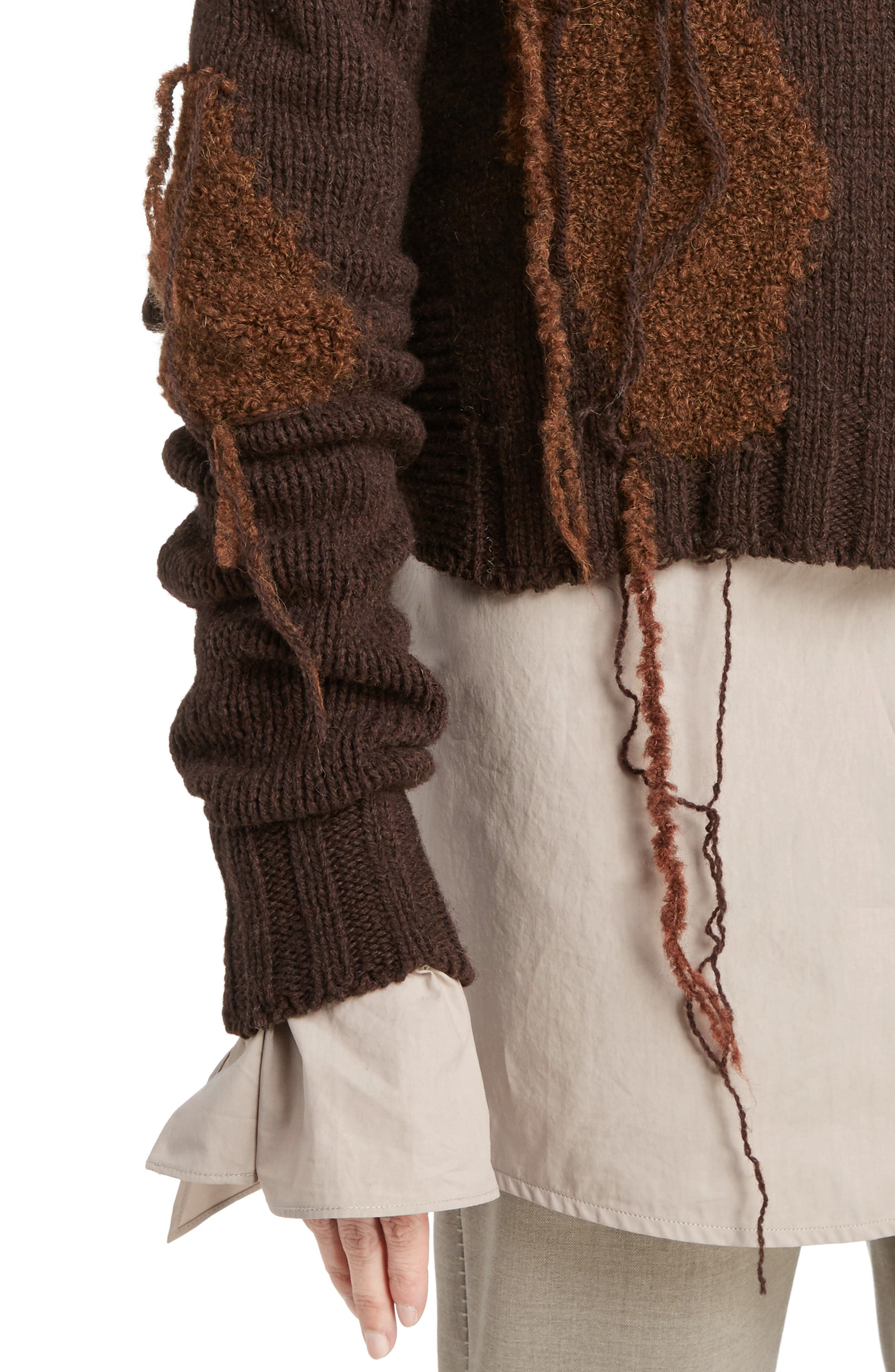 Ovira Distressed Patchwork Sweater,                             Alternate thumbnail 4, color,                             Brown Combo