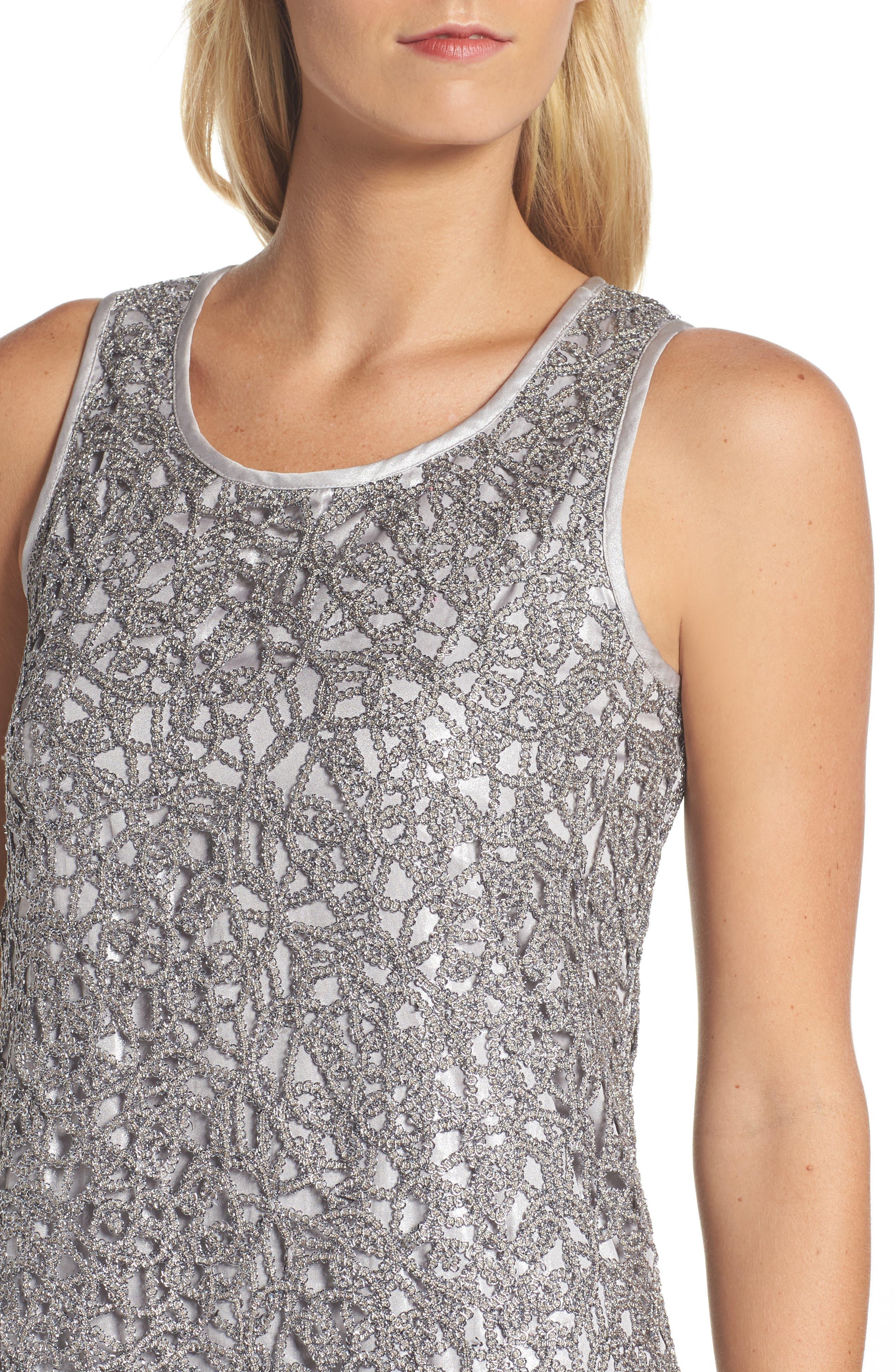 Metallic Lace Shift Dress,                             Alternate thumbnail 4, color,                             Silver