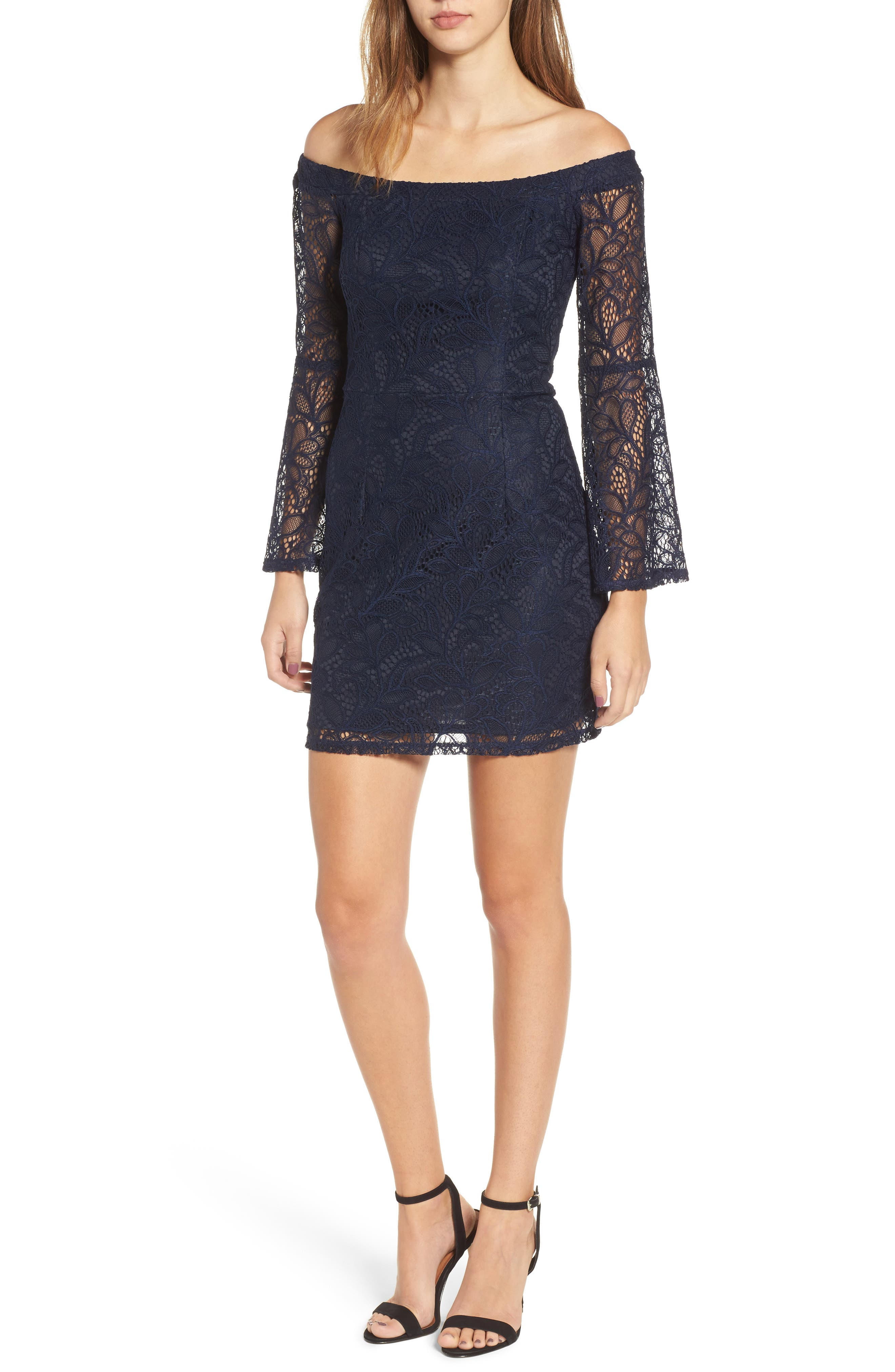 Off the Shoulder Lace Minidress,                         Main,                         color, Midnight