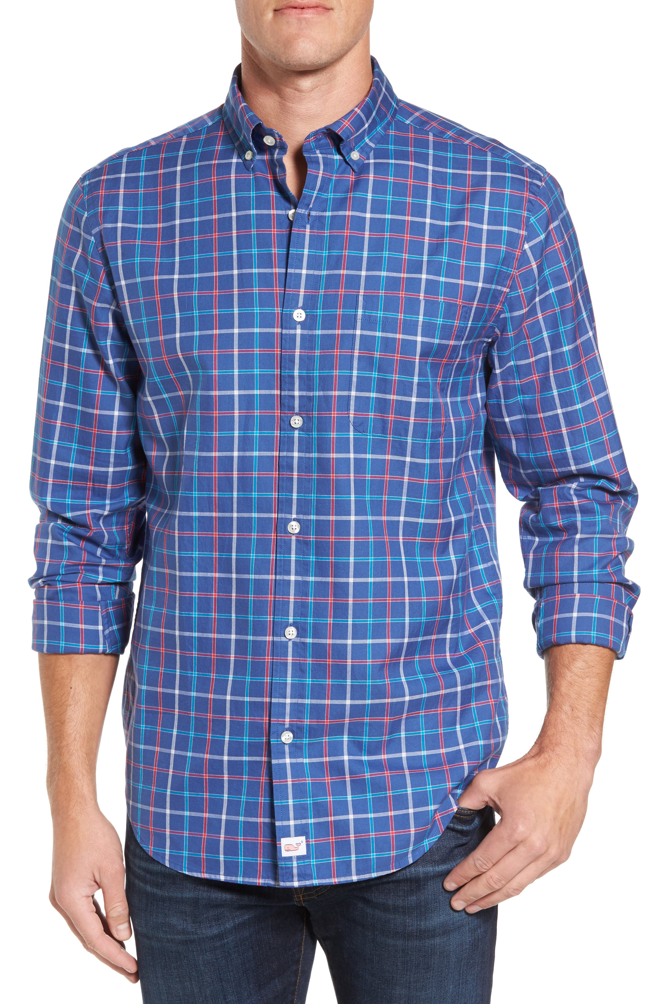 Classic Fit Murray Jade Cove Check Sport Shirt,                         Main,                         color, Moonshine