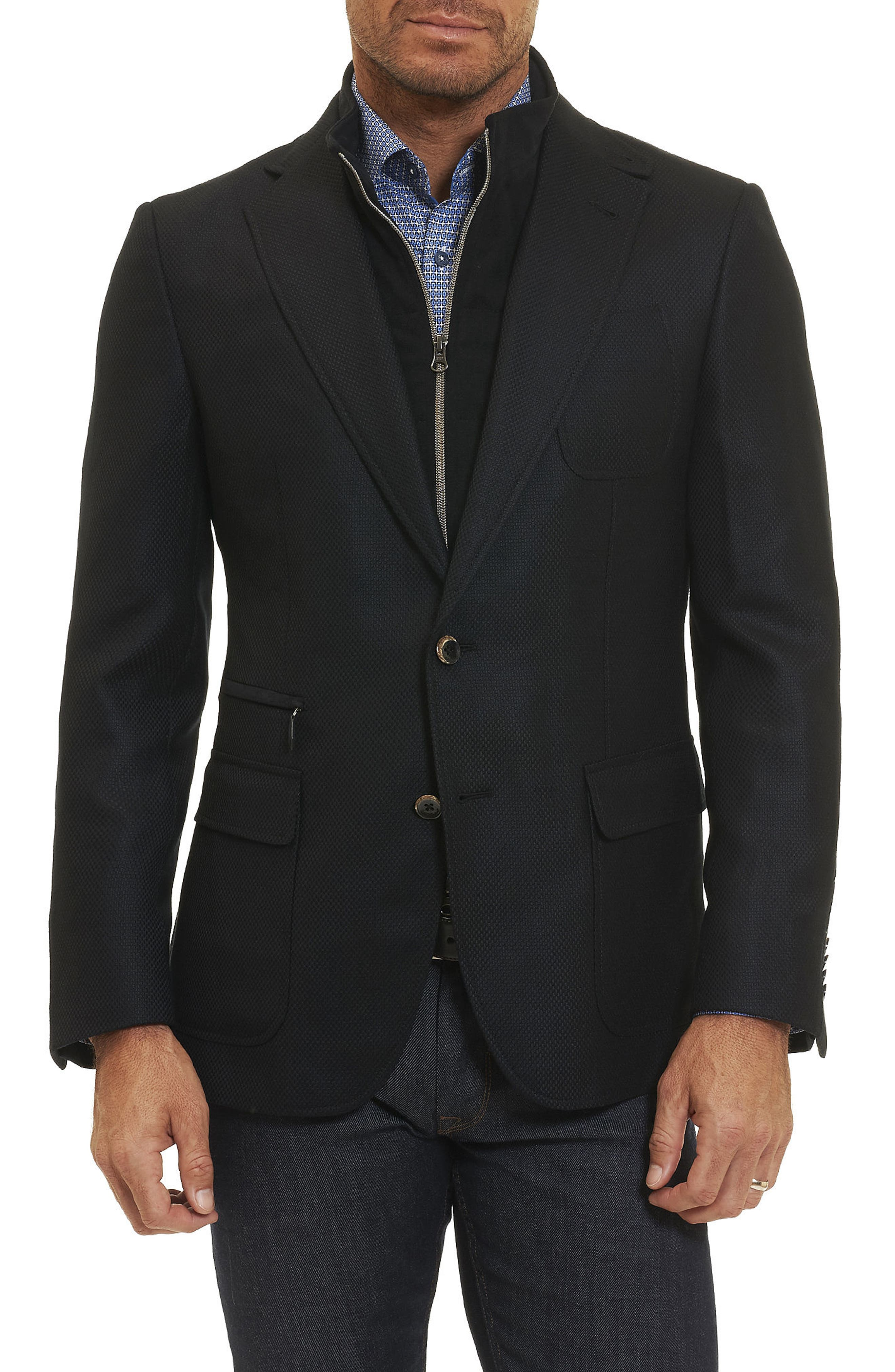Downhill Sport Coat with Removable Bib,                         Main,                         color, Black