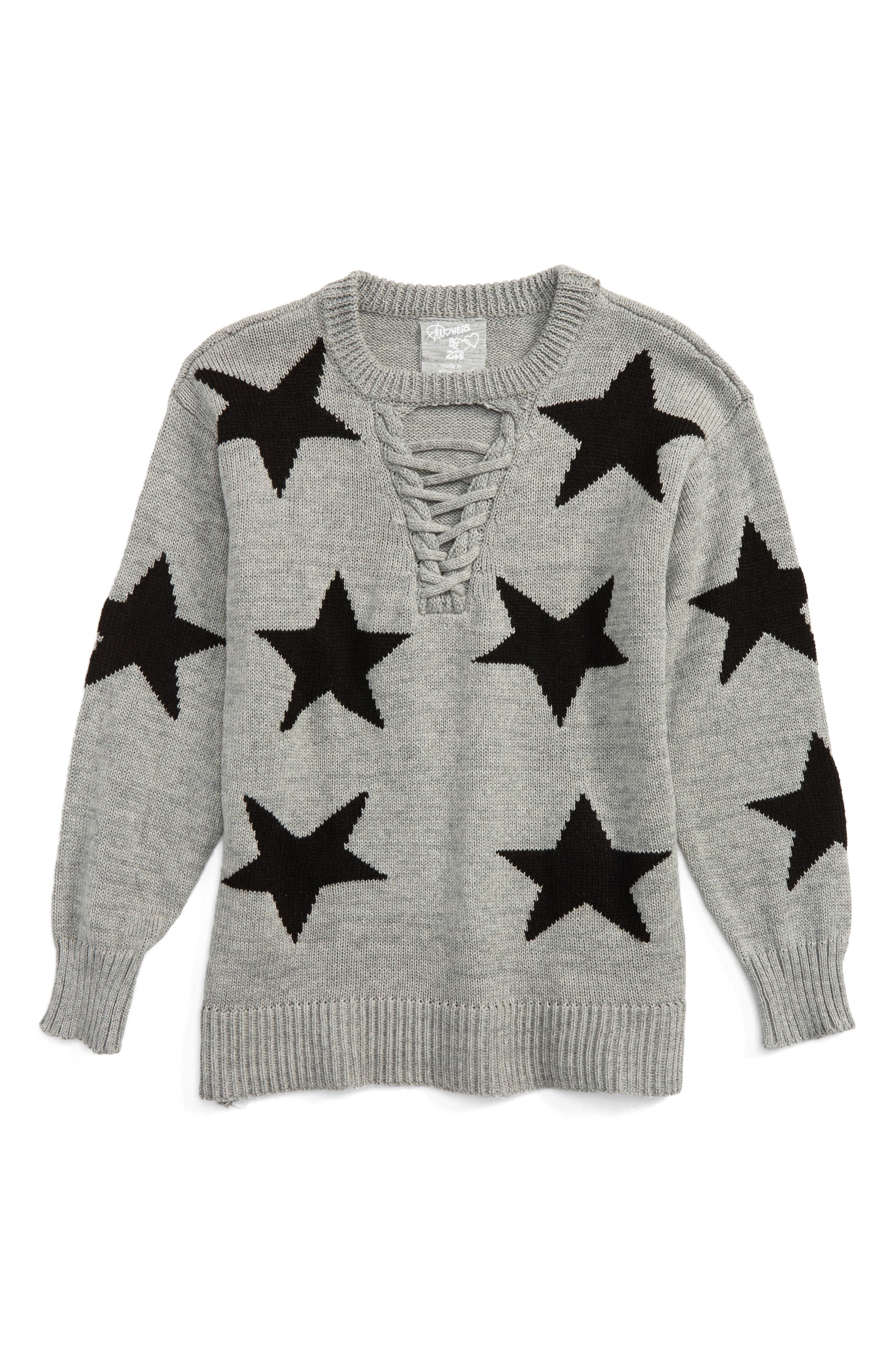 Star Lace-Up Sweater,                         Main,                         color, Grey/ Black
