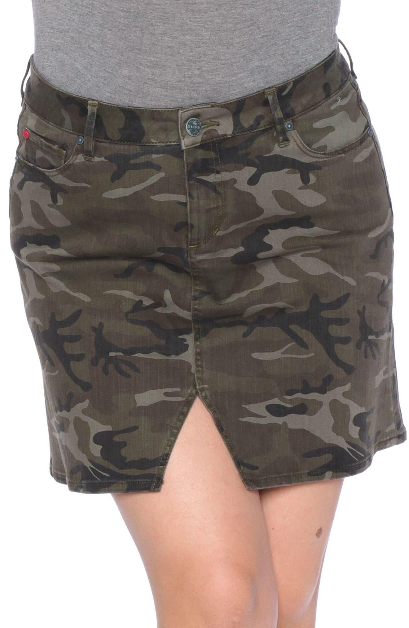 Camo Print Skirt,                         Main,                         color, Olive Camo