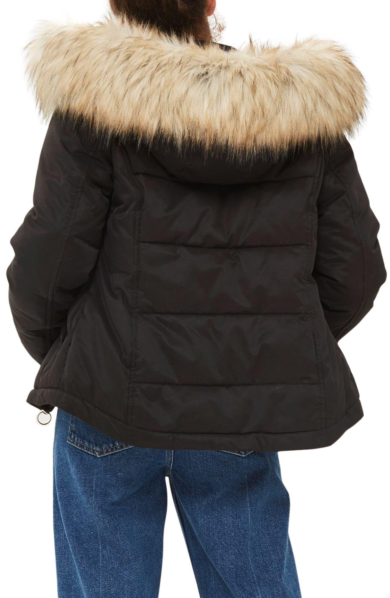 Alternate Image 4  - Topshop Jerry Faux Fur Trim Puffer Jacket