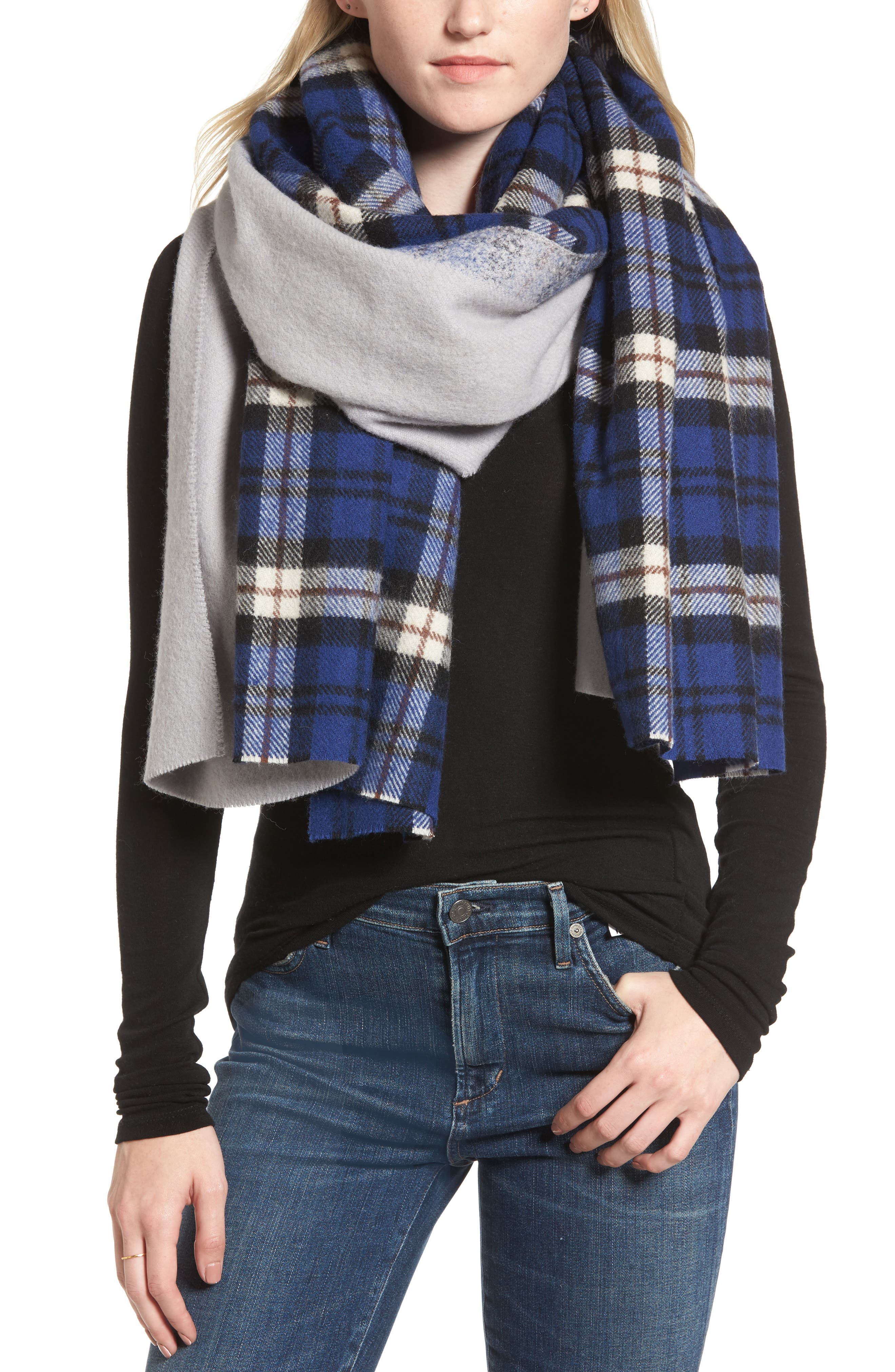 Traditional Wool & Cashmere Scarf,                         Main,                         color, Blue/ Grey
