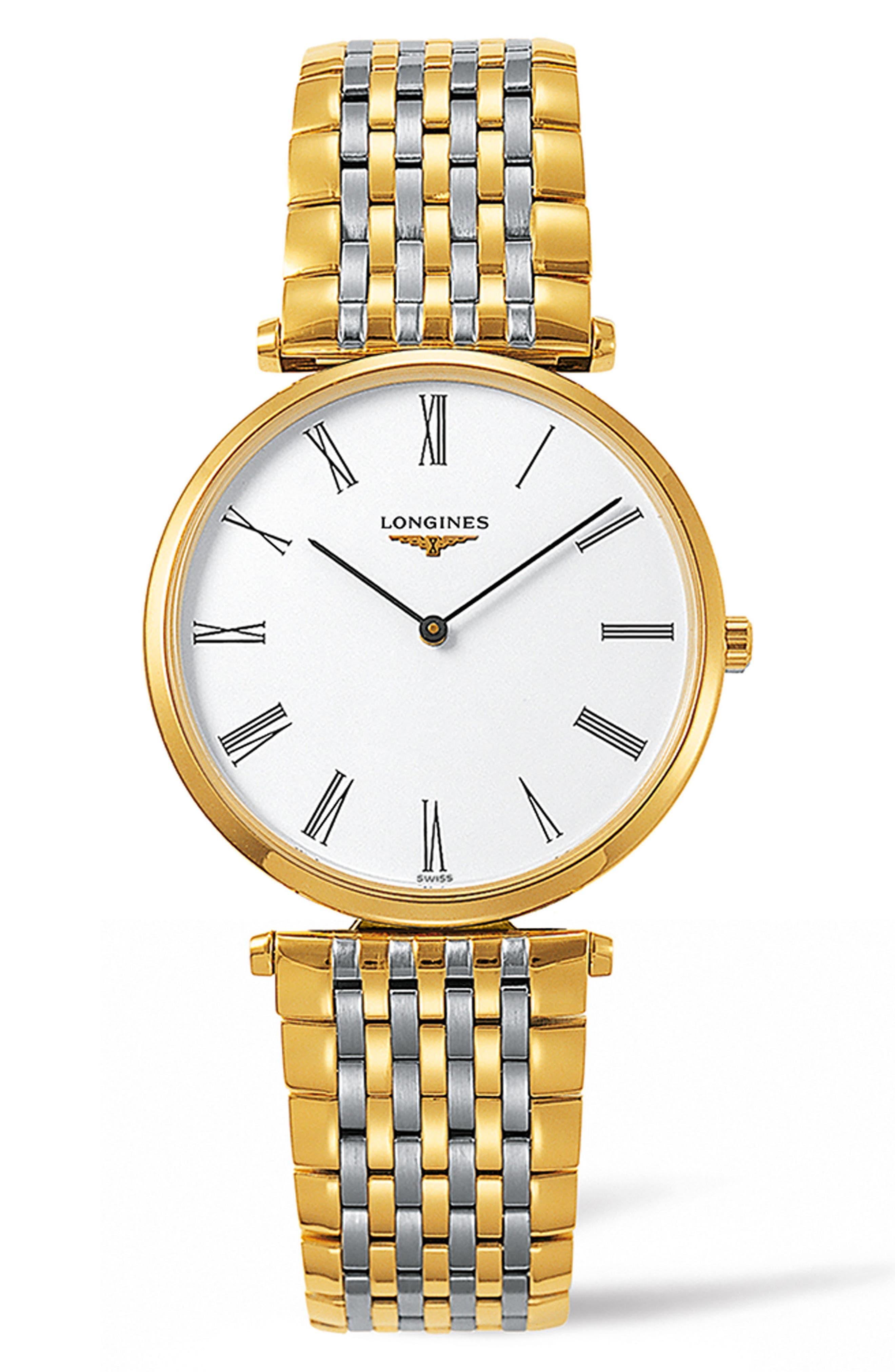 La Grande Classique de Longines Bracelet Watch, 34mm,                             Main thumbnail 1, color,                             Silver/ White/ Gold