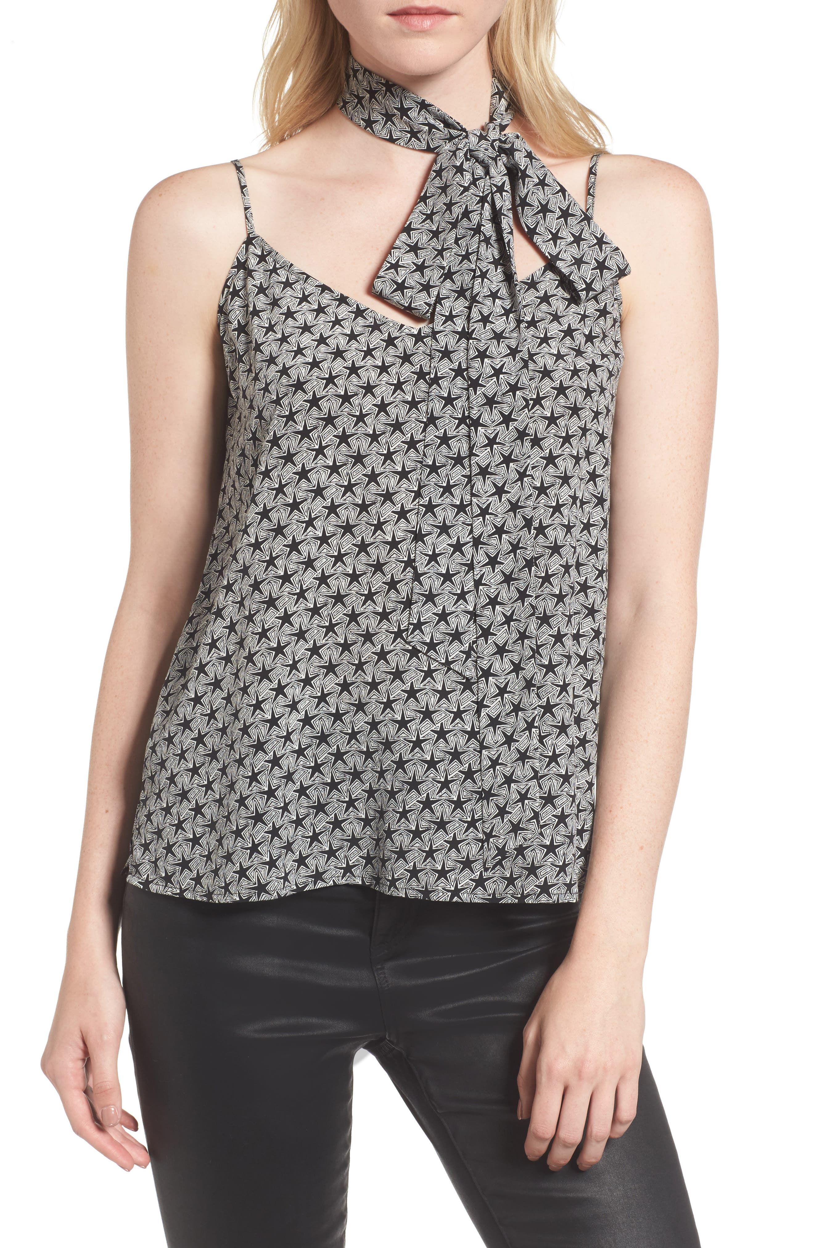 Lisette Silk Tank & Scarf,                         Main,                         color, Starline True Black/ Ivory