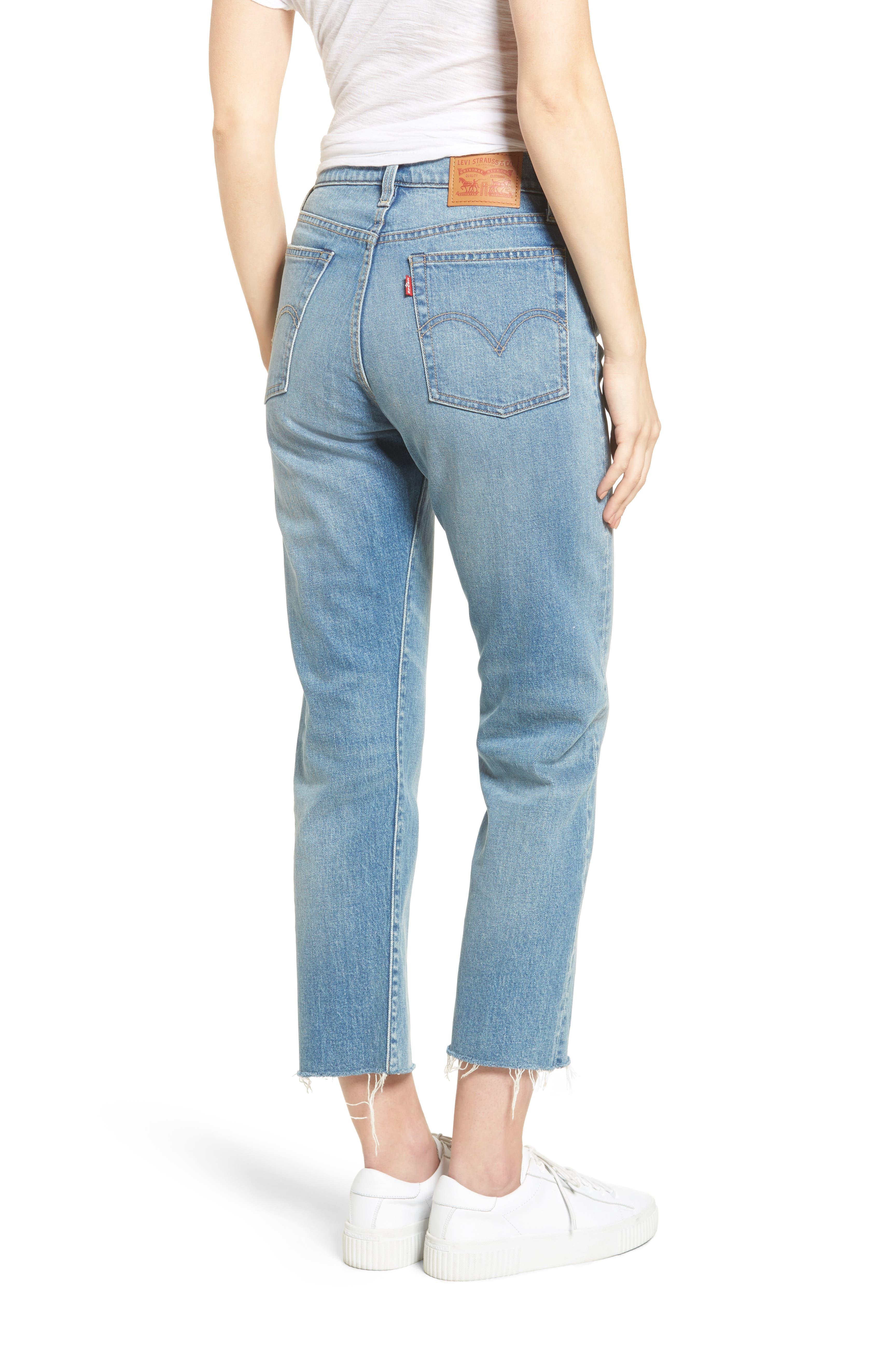 Wedgie Straight Leg Crop Jeans,                             Alternate thumbnail 2, color,                             Rough Tide