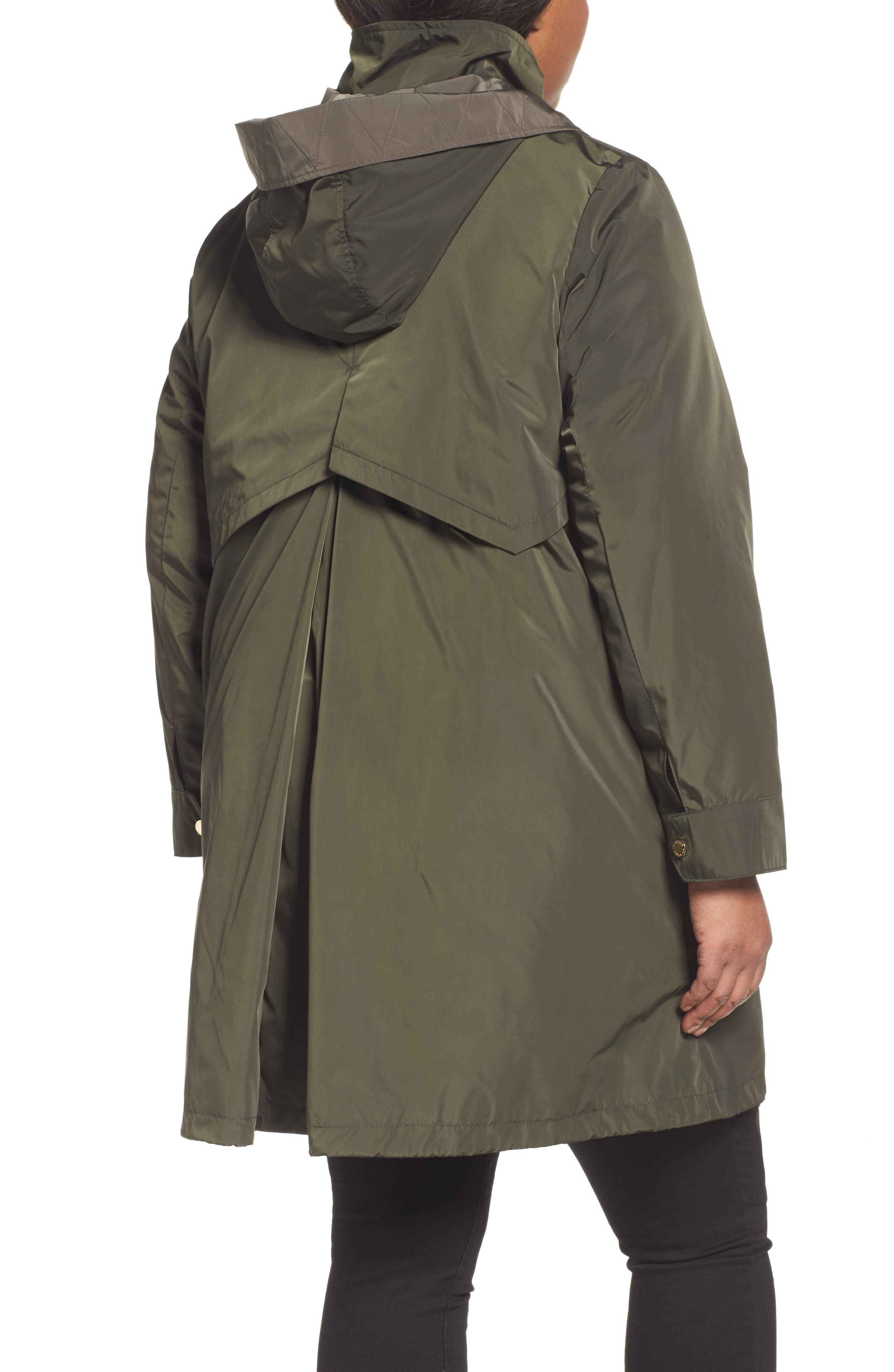 Alternate Image 2  - Via Spiga Hooded Packable Utility Coat (Plus Size)