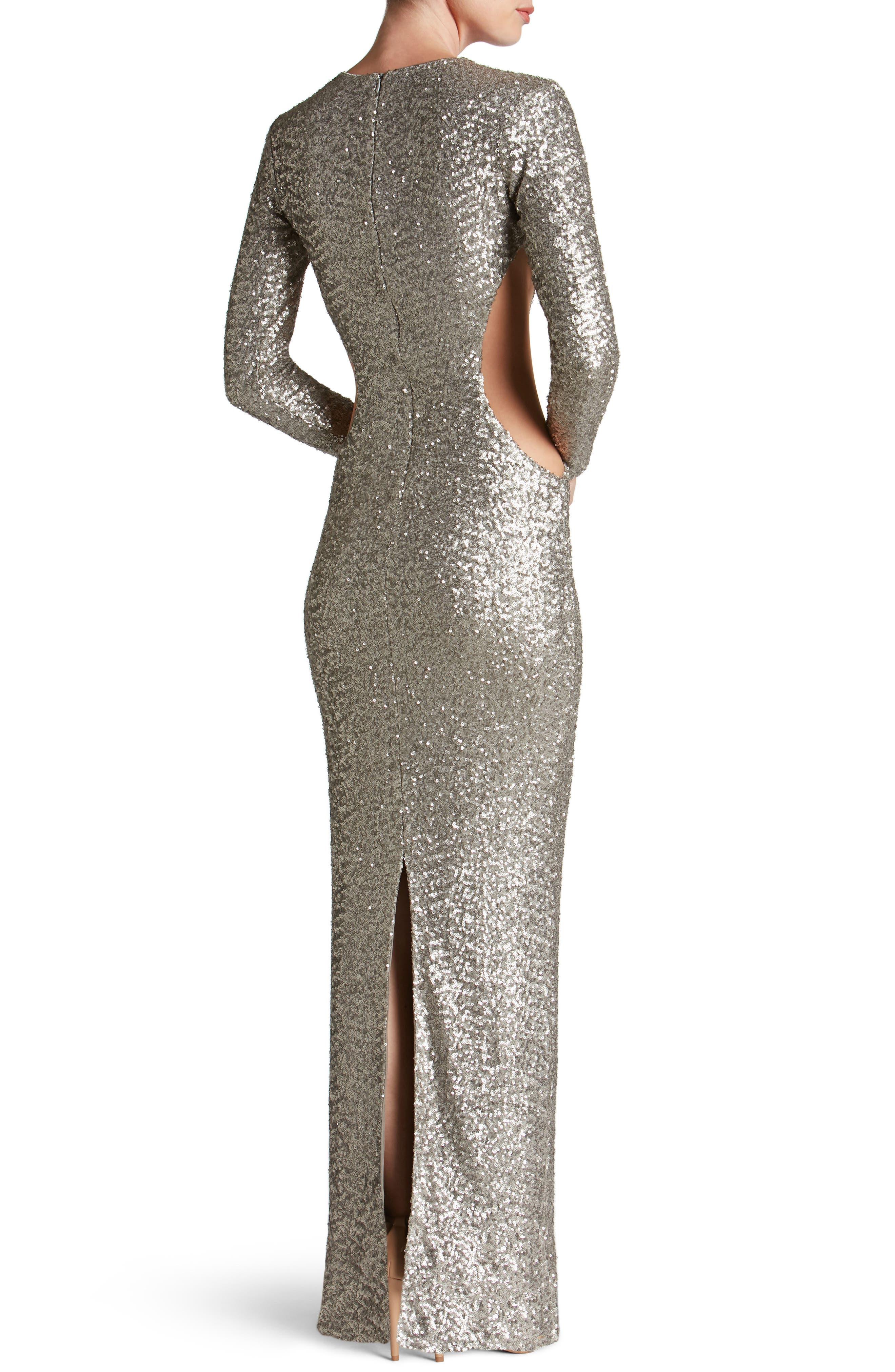 Lara Body-Con Gown,                             Alternate thumbnail 2, color,                             Platinum