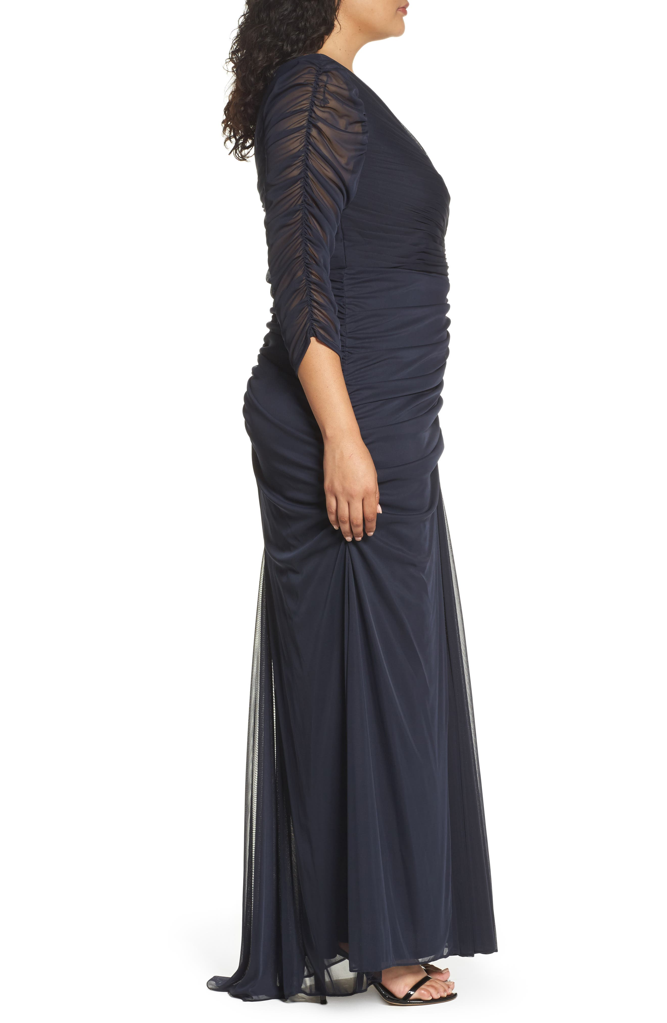 Alternate Image 3  - Adrianna Papell Beaded Mesh Gown (Plus Size)