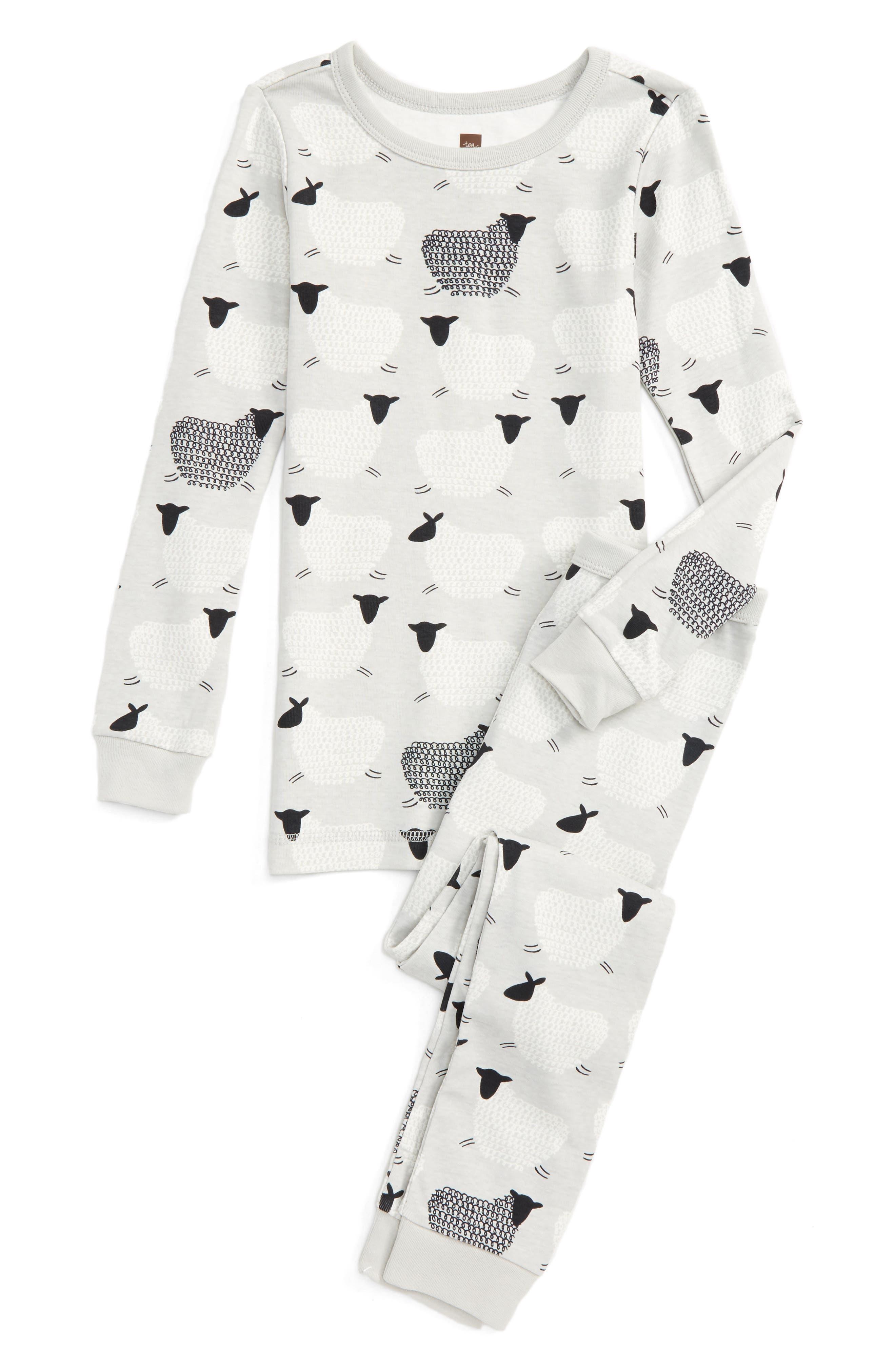 Main Image - Tea Collection Baa Baa Fitted Two-Piece Pajamas (Toddler Girls, Little Girls & Big Girls)