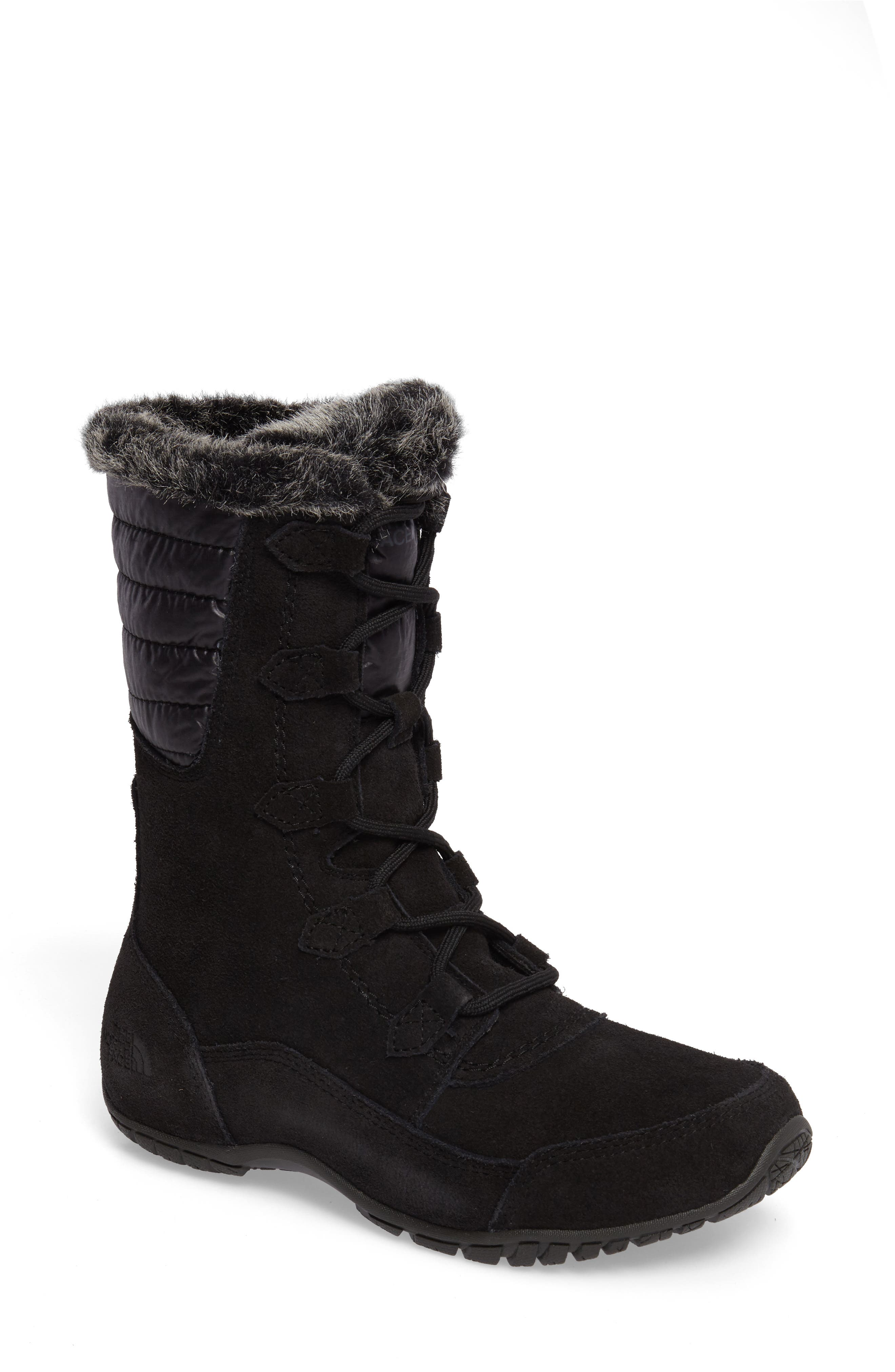 Nuptse Purna II Waterproof PrimaLoft<sup>®</sup> Silver Eco Insulated Winter Boot,                             Main thumbnail 1, color,                             Tnf Black/ Beluga Grey