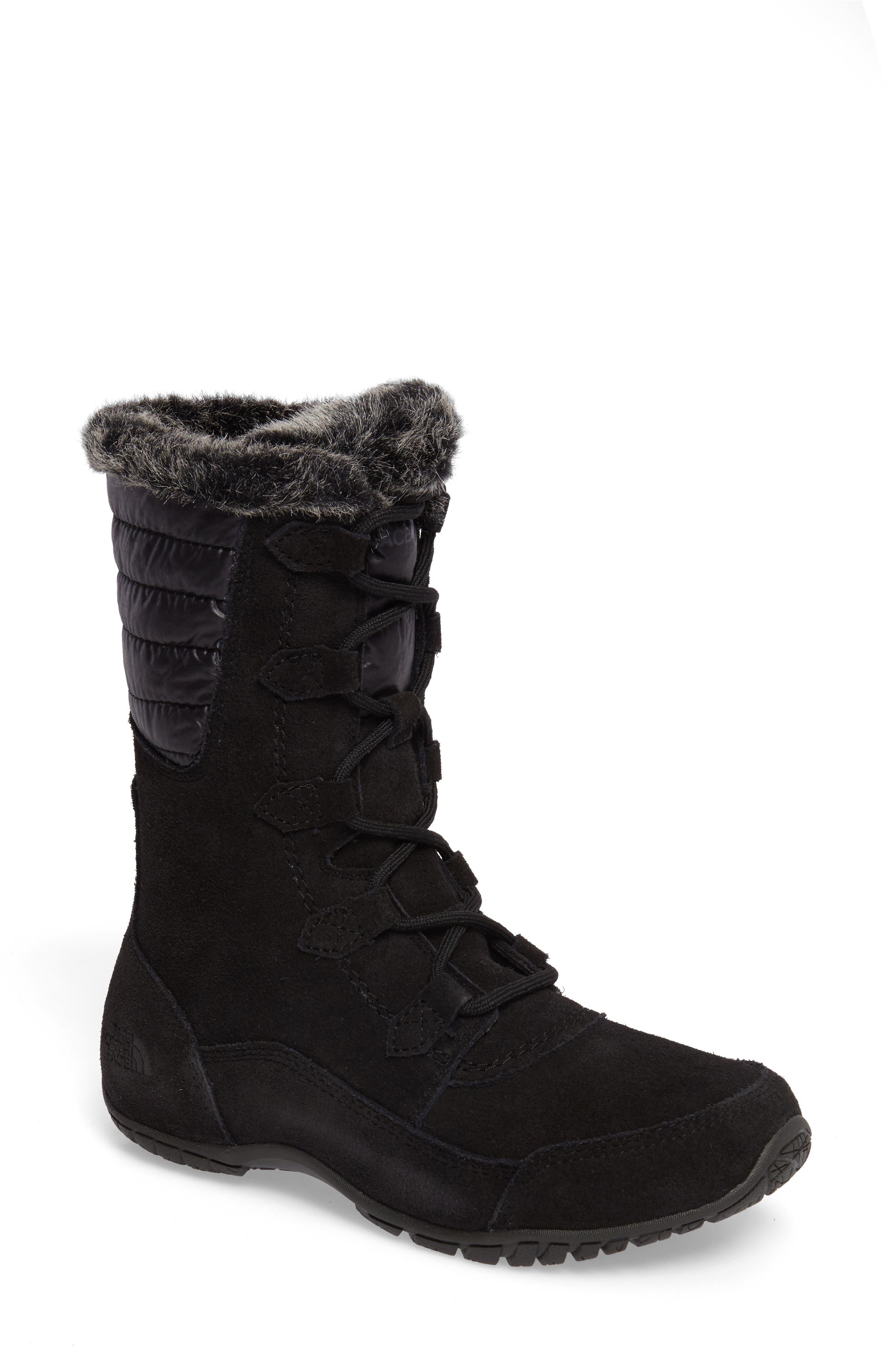 Nuptse Purna II Waterproof PrimaLoft<sup>®</sup> Silver Eco Insulated Winter Boot,                         Main,                         color, Tnf Black/ Beluga Grey