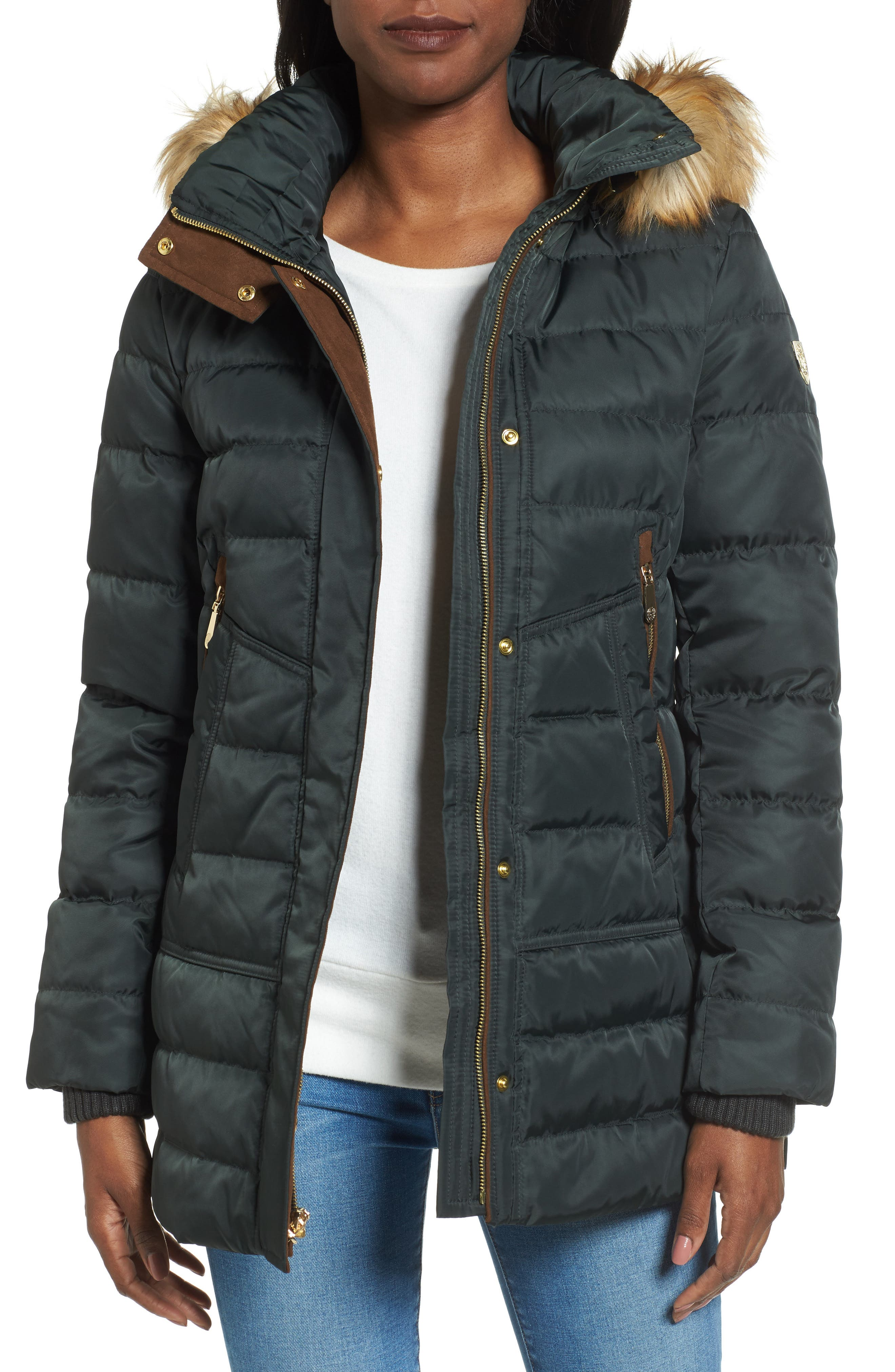 Vince Camuto Quilted Coat with Faux Fur Trim Hood