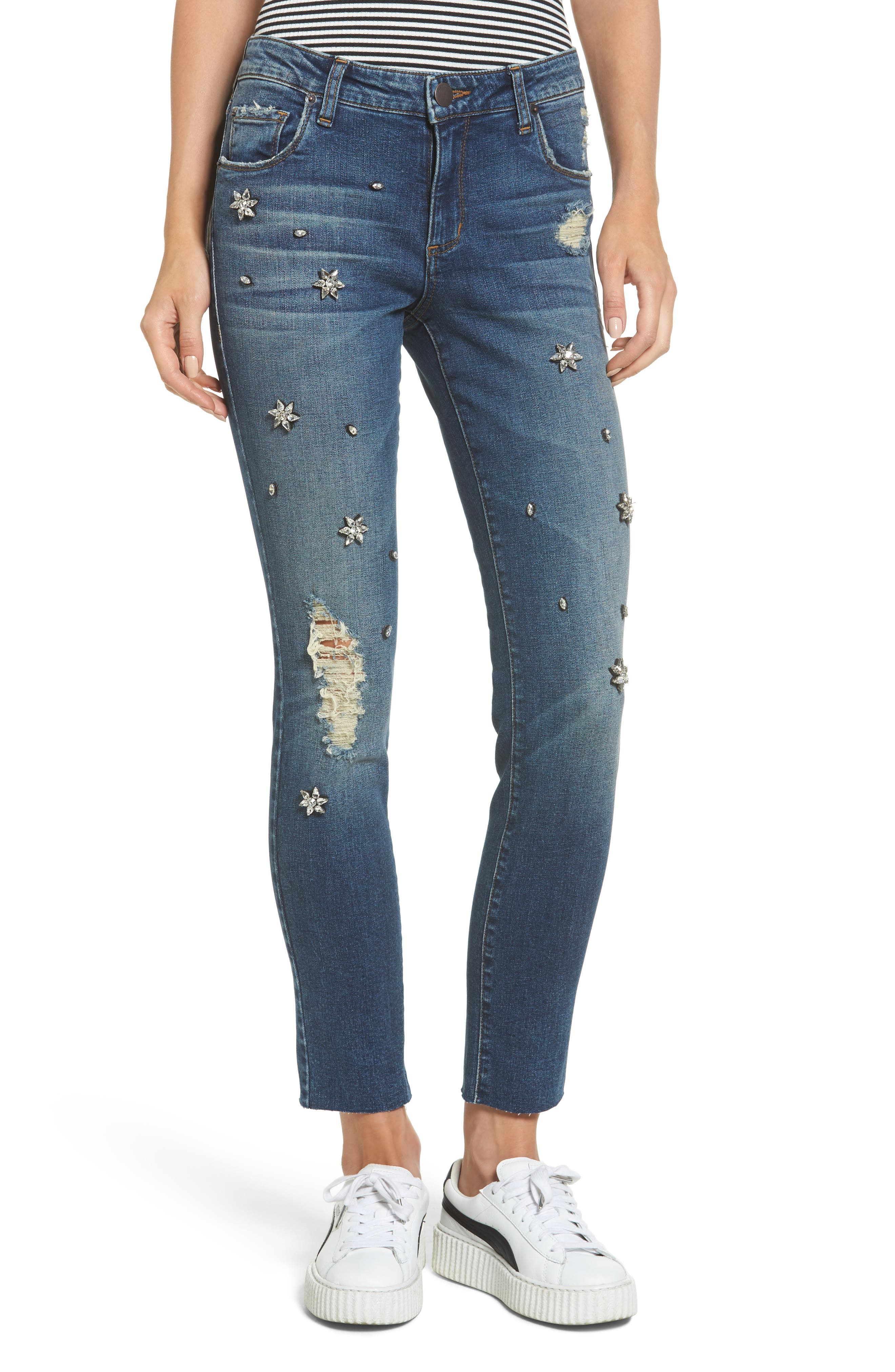 Taylor Jeweled Crop Straight Leg Jeans,                         Main,                         color, East River View