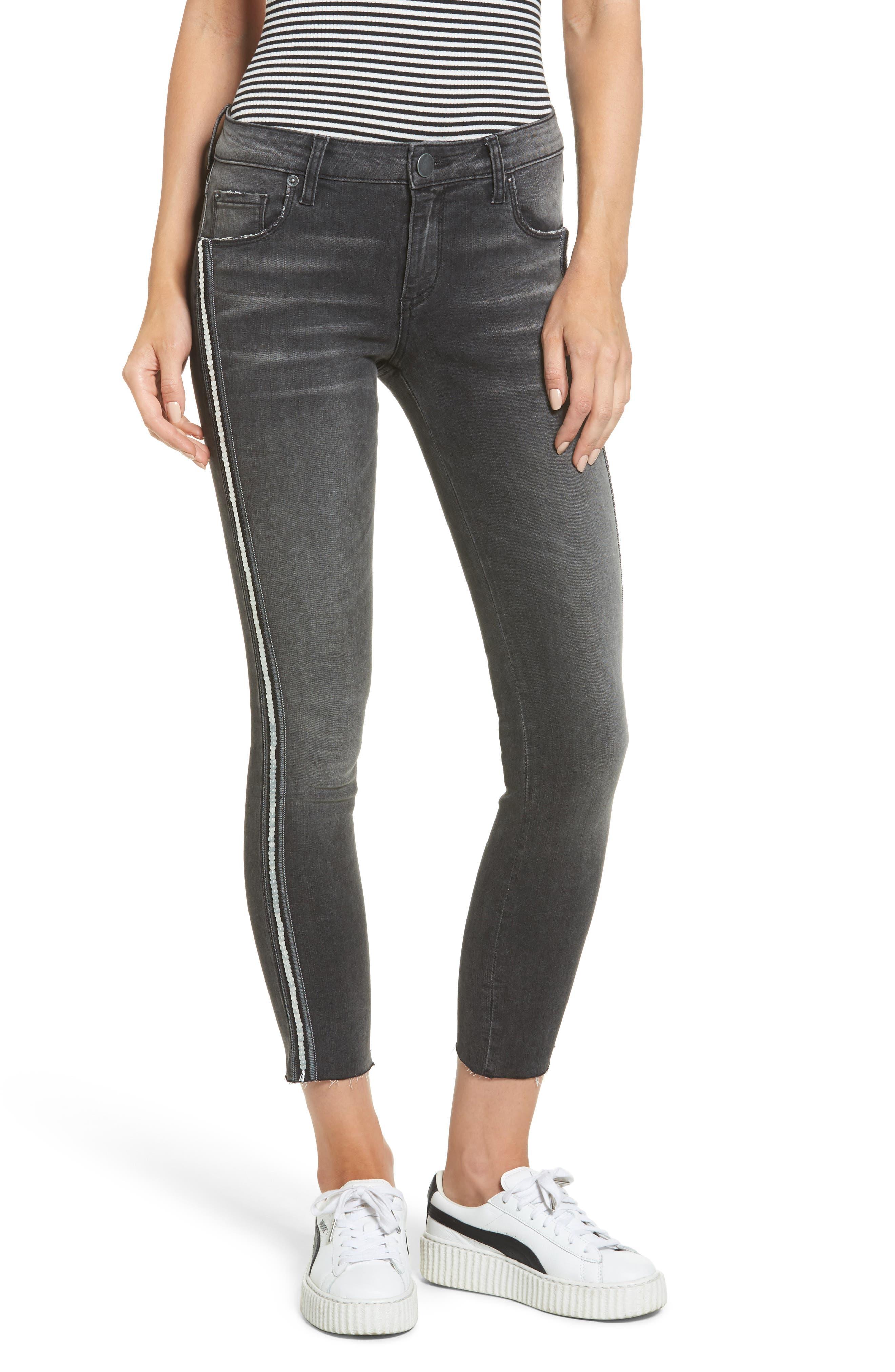 Tuxedo Stripe Skinny Jeans,                         Main,                         color, Black