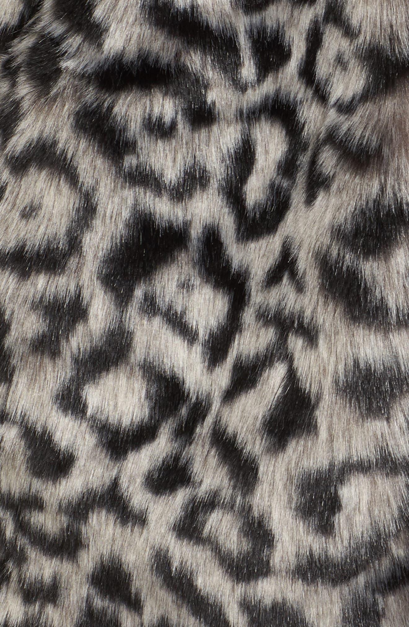 Faux Fur Vest,                             Alternate thumbnail 5, color,                             Snow Leopard