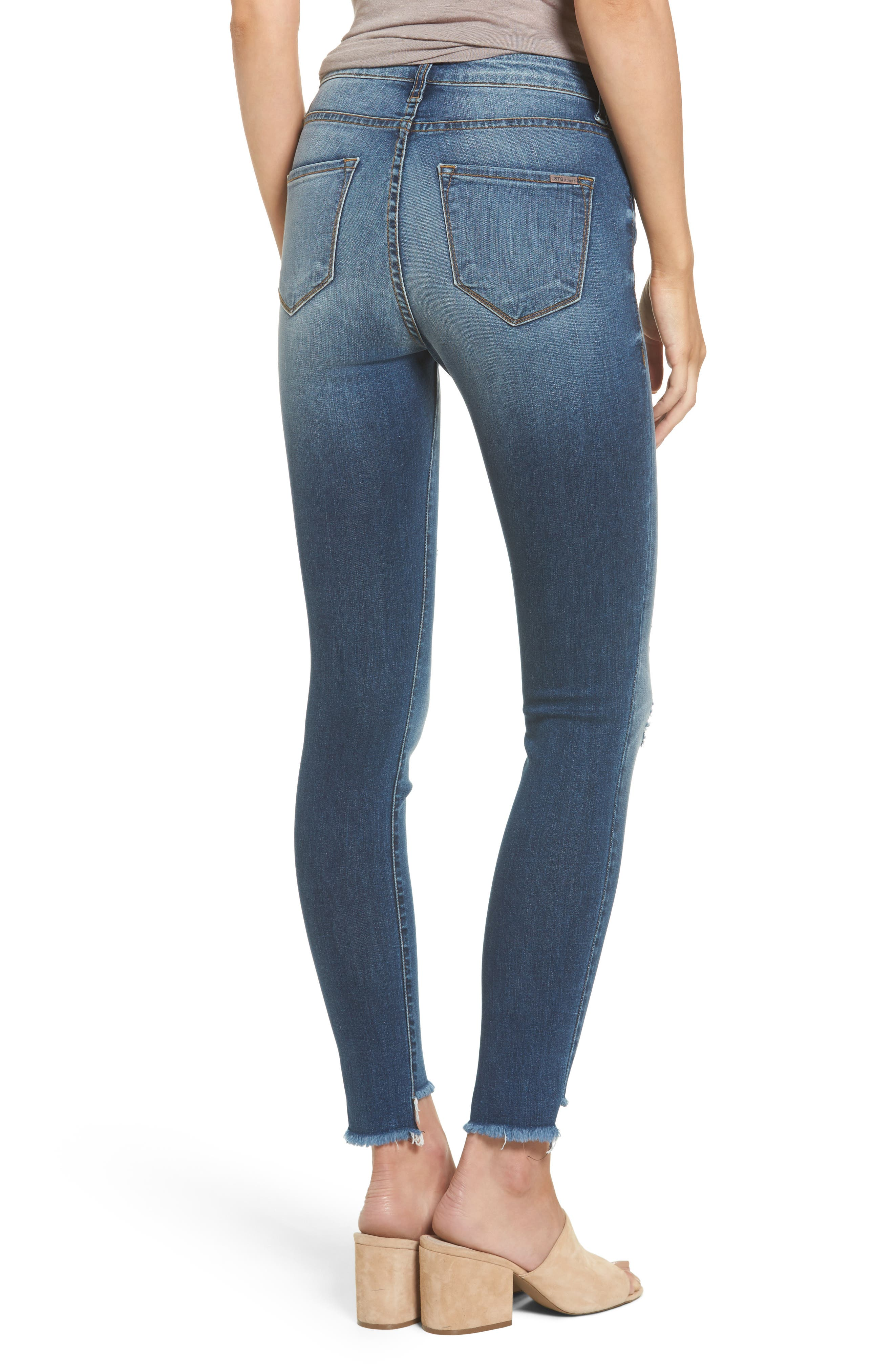 Alternate Image 2  - STS Blue Ellie Step Hem Ripped High Waist Skinny Jeans