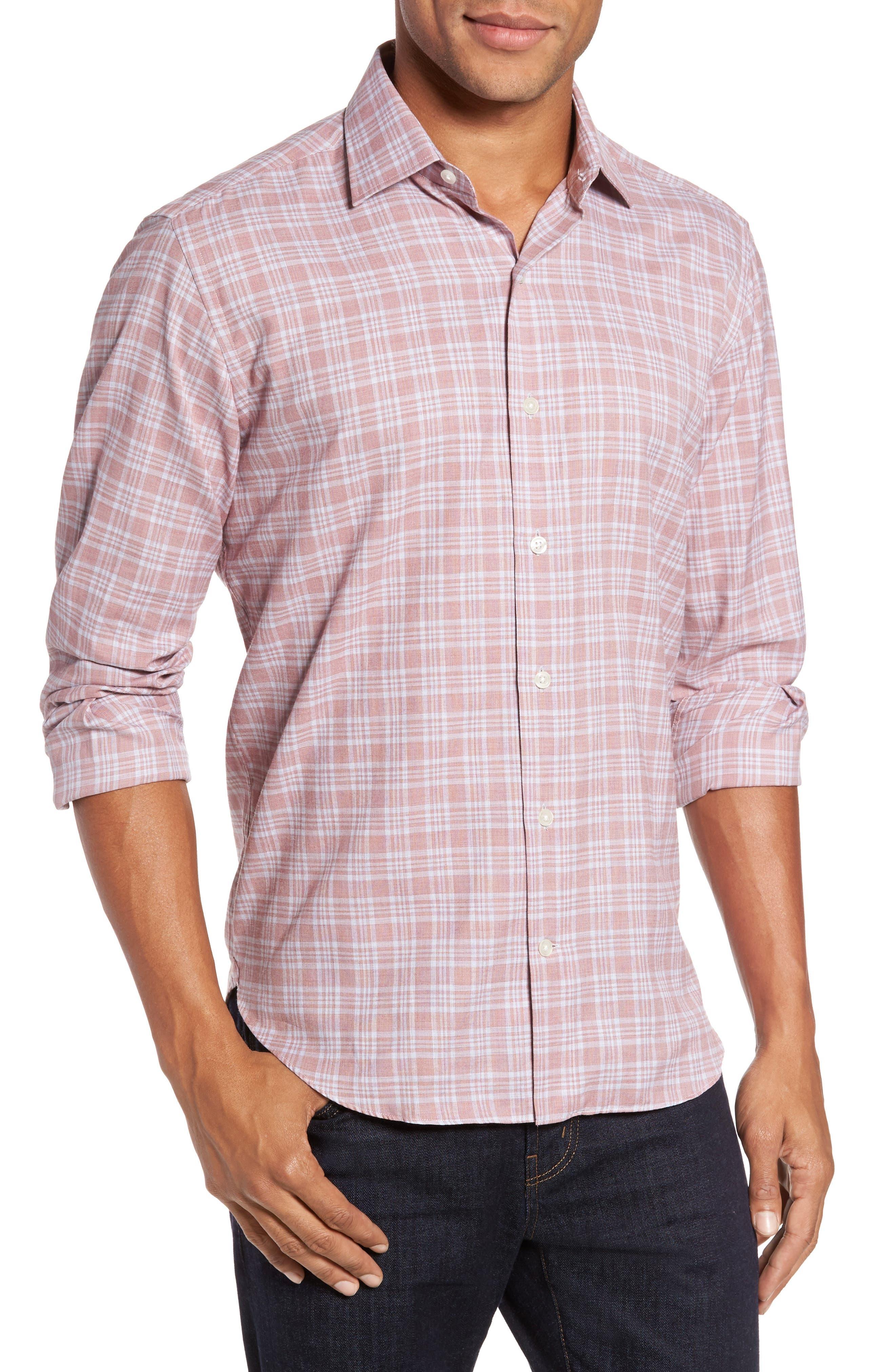 Slim Fit Plaid Sport Shirt,                         Main,                         color, Pink