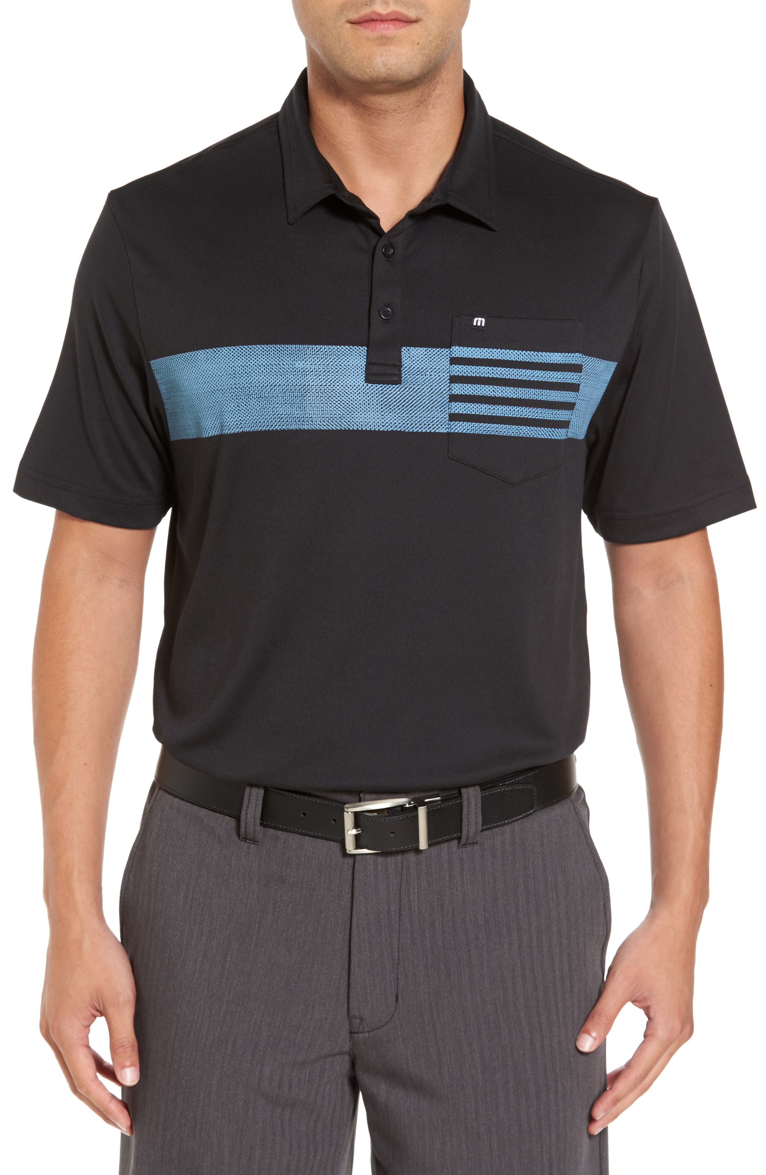Russ Chest Stripe Pocket Polo,                             Main thumbnail 1, color,                             Black