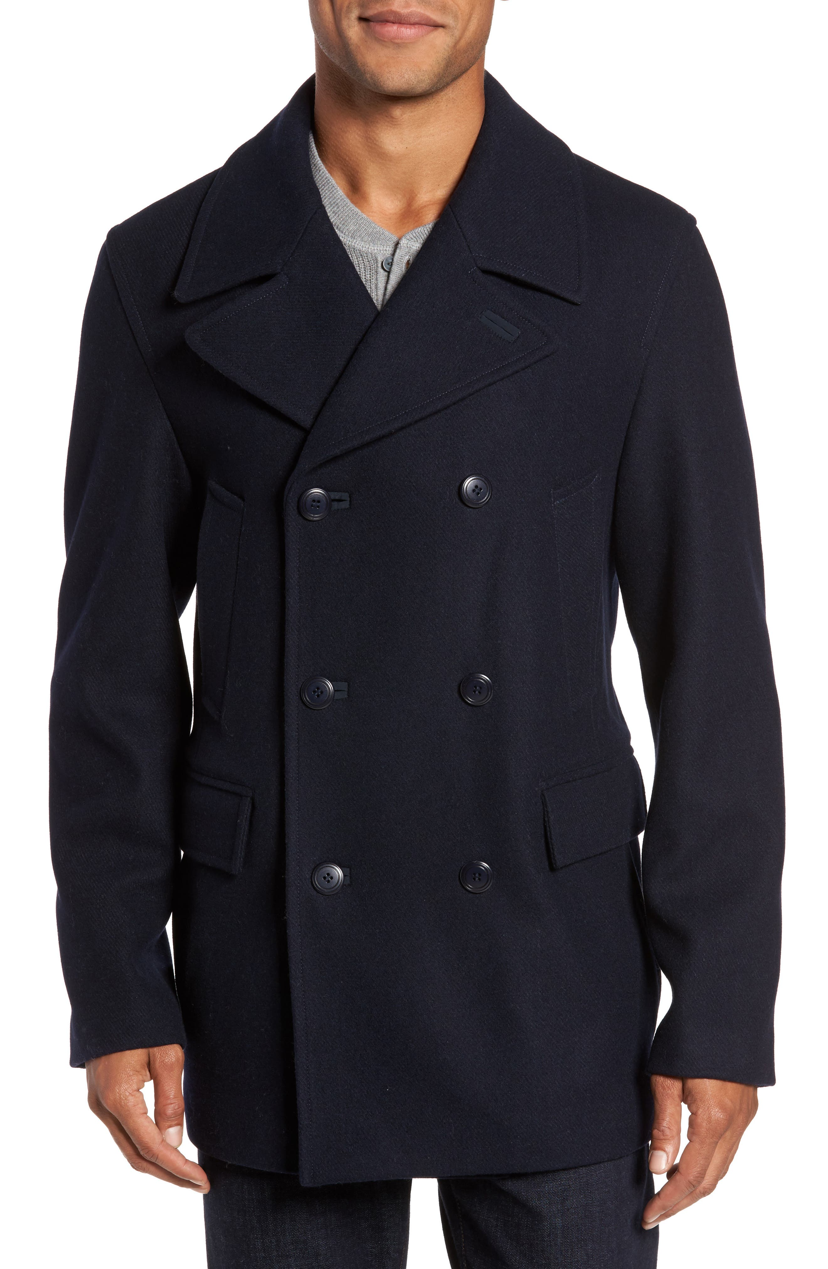 Wool Blend Peacoat,                         Main,                         color, Navy Captain