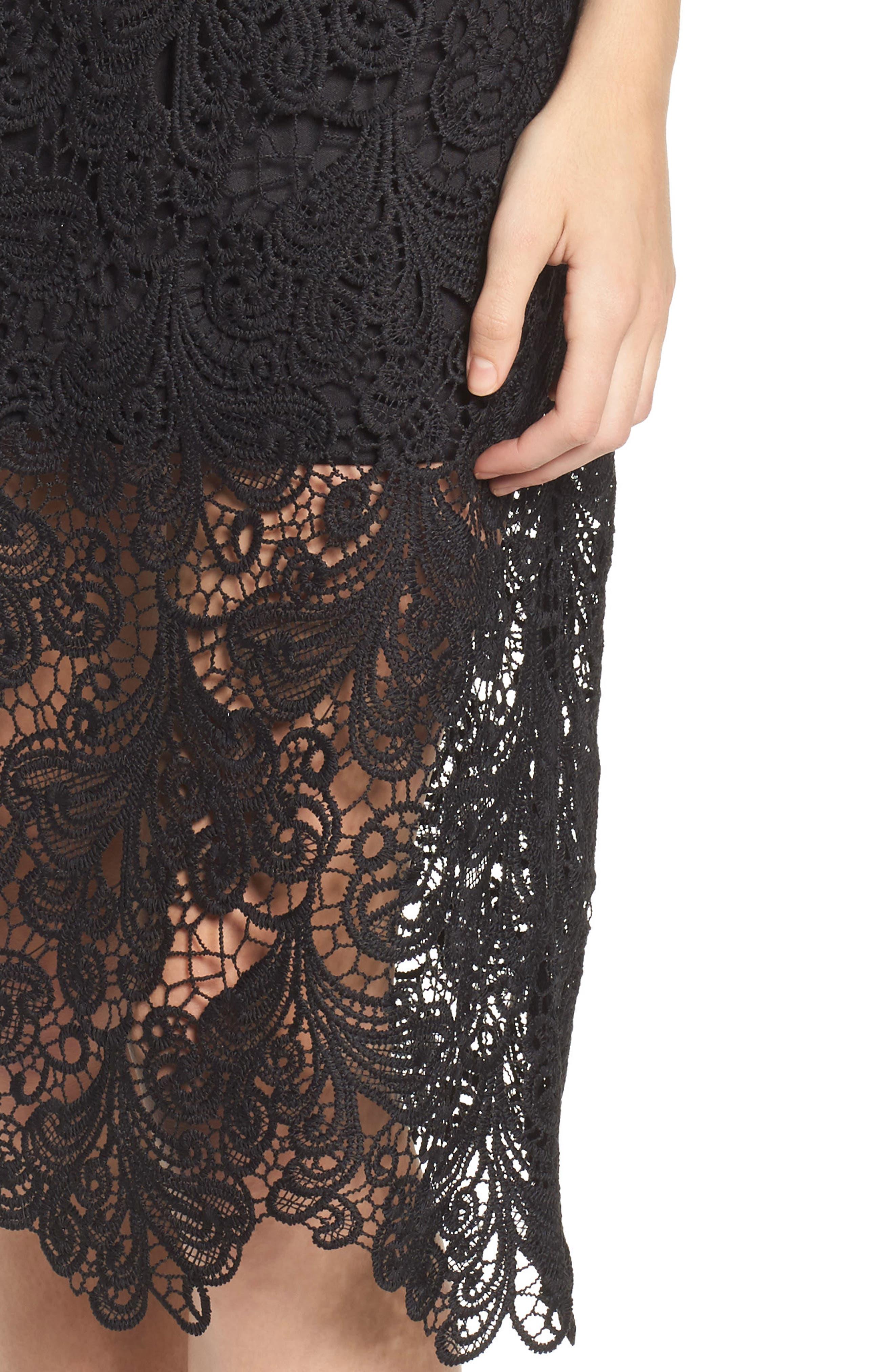 Lace Midi Dress,                             Alternate thumbnail 4, color,                             Black