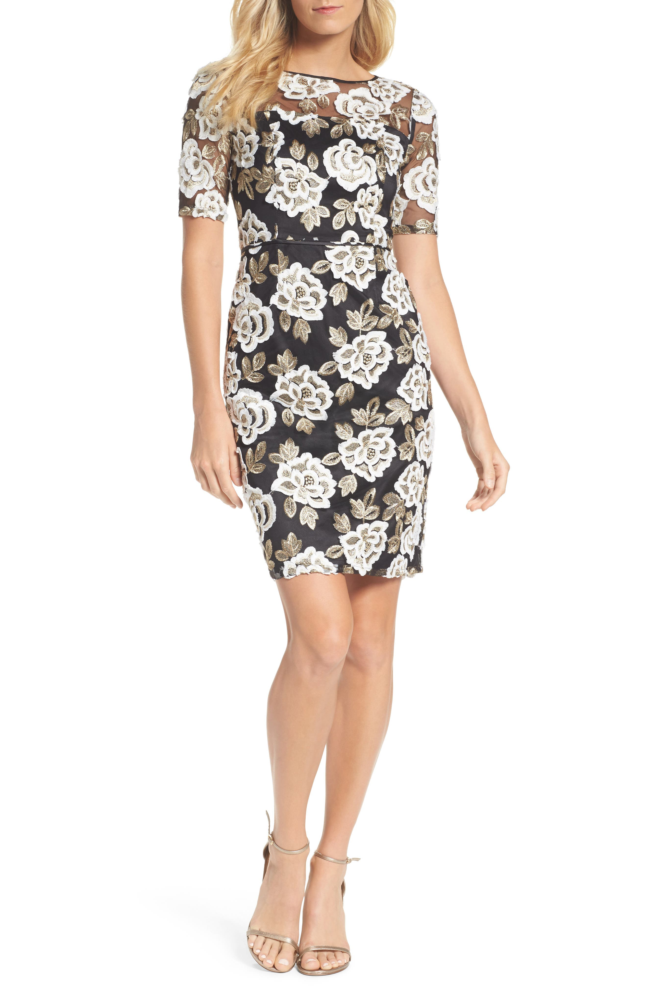 Madelin Embroidered Sheath Dress,                         Main,                         color, Ivory Gold