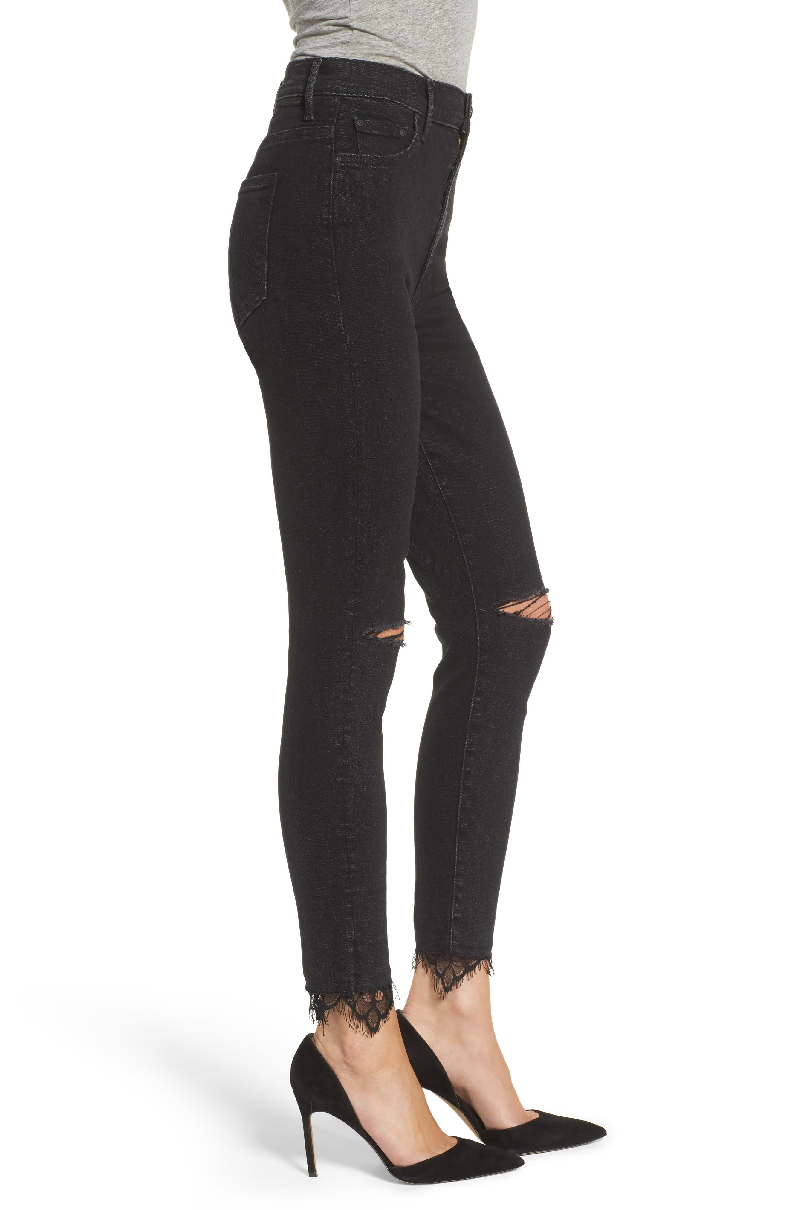 Alternate Image 3  - MOTHER Swooner Dagger Ankle Skinny Jeans (Baa Baa Black Sheep)