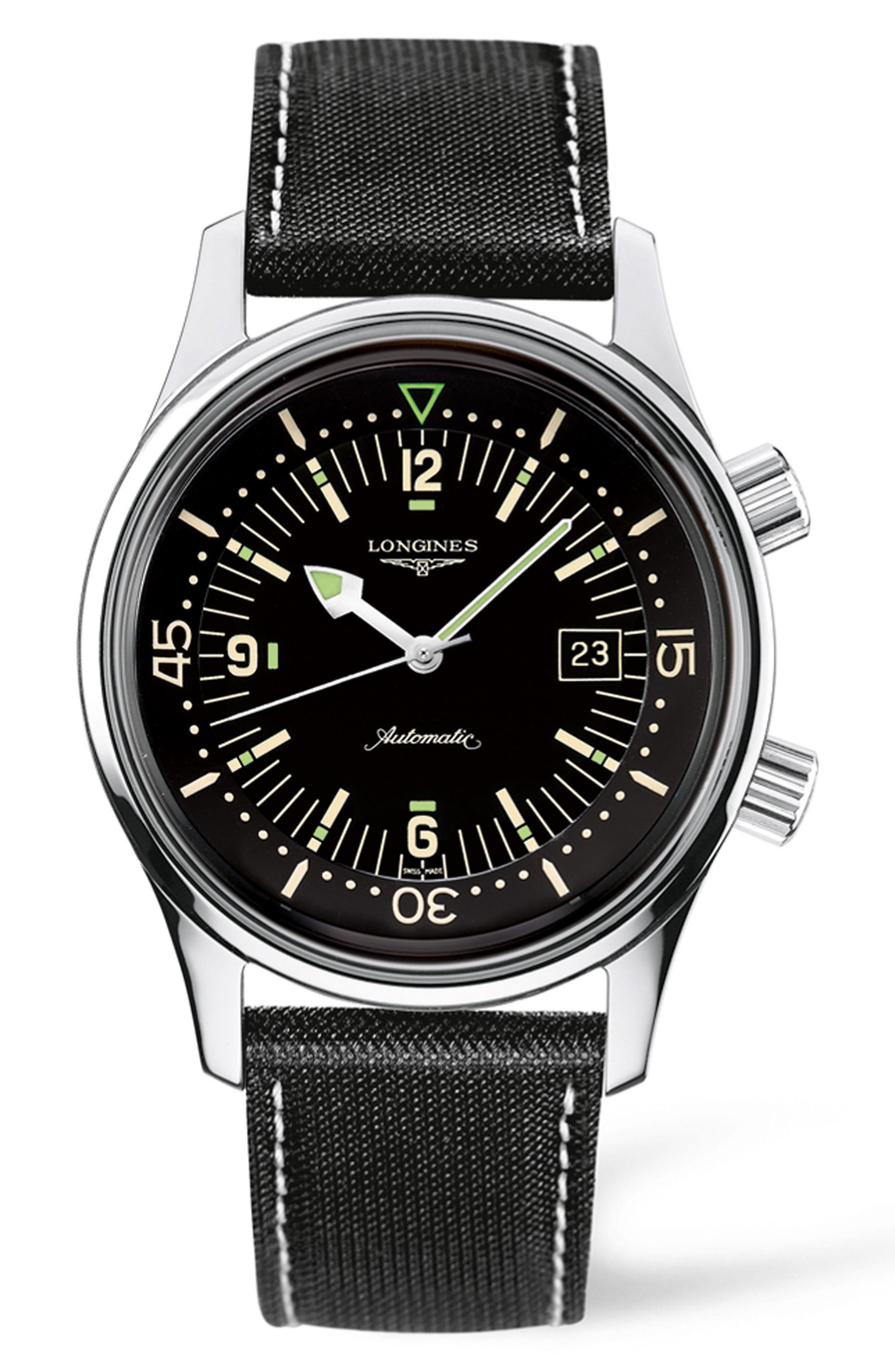 Heritage Legend Diver Automatic Synthetic Strap Watch, 42mm,                         Main,                         color, Black/ Silver