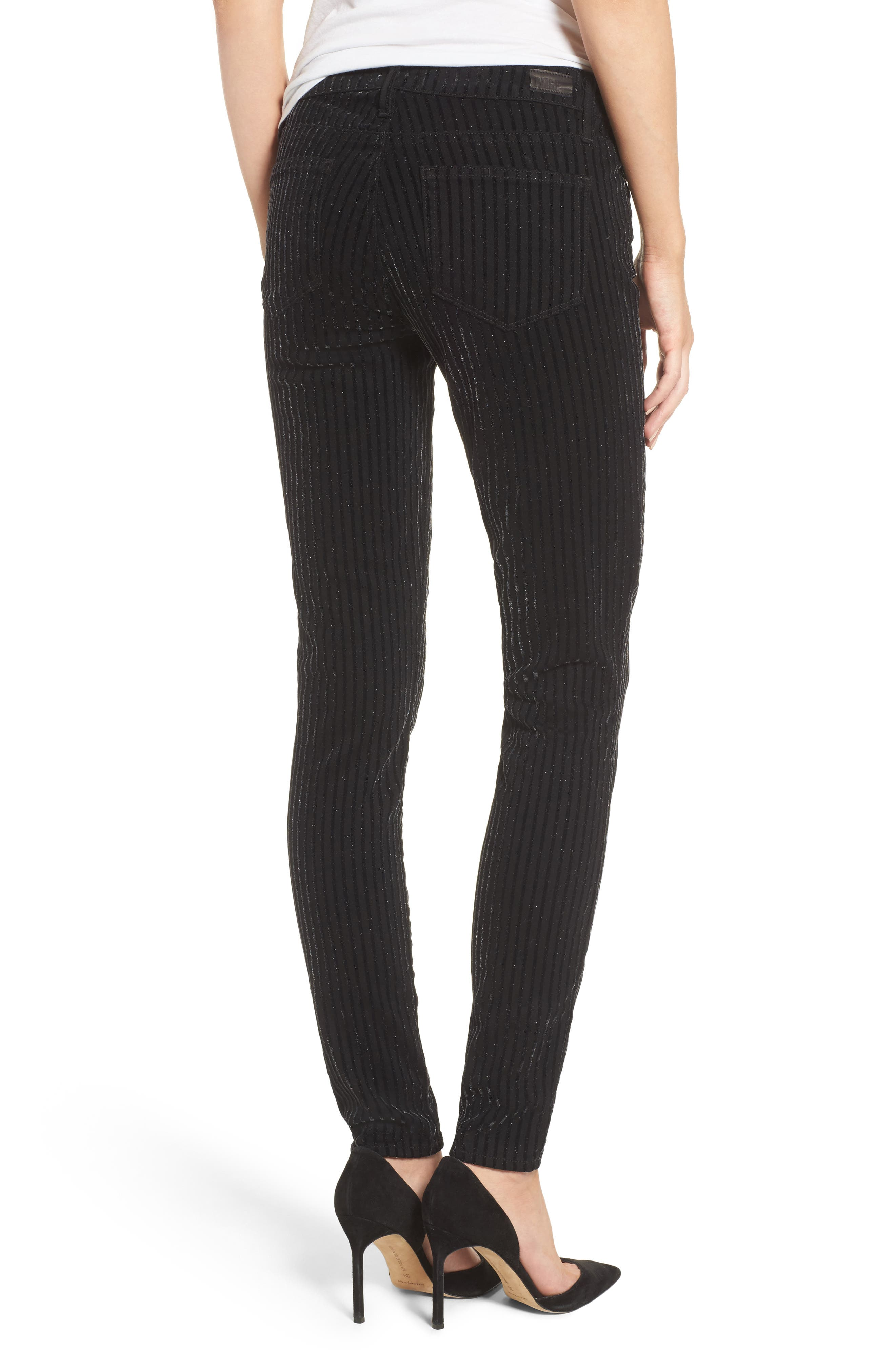Alternate Image 2  - PAIGE Verdugo Ultra Skinny Jeans (Noir Flocked Stripe)